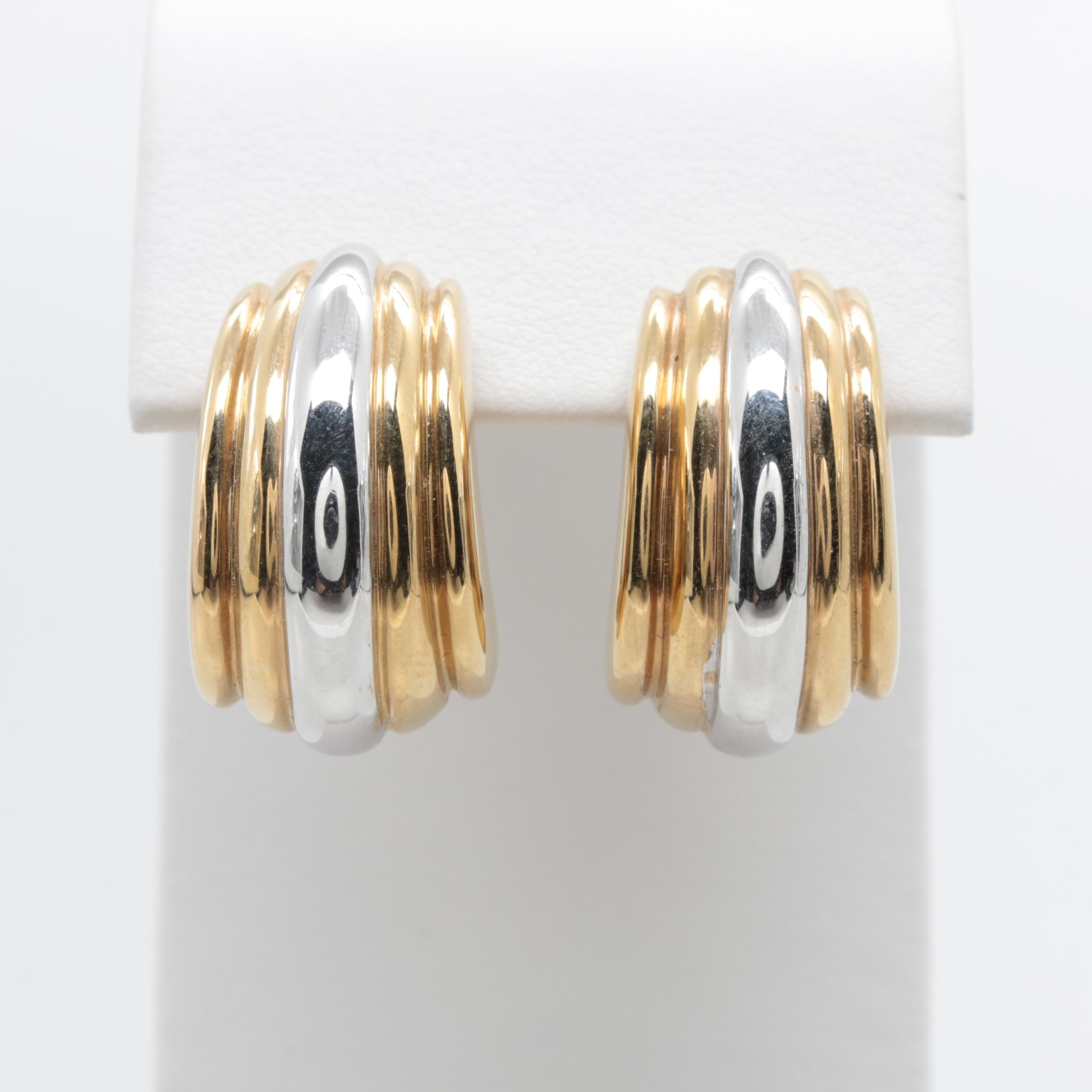 Italian14K Yellow Gold J-Hoop Earrings with White Gold Accents