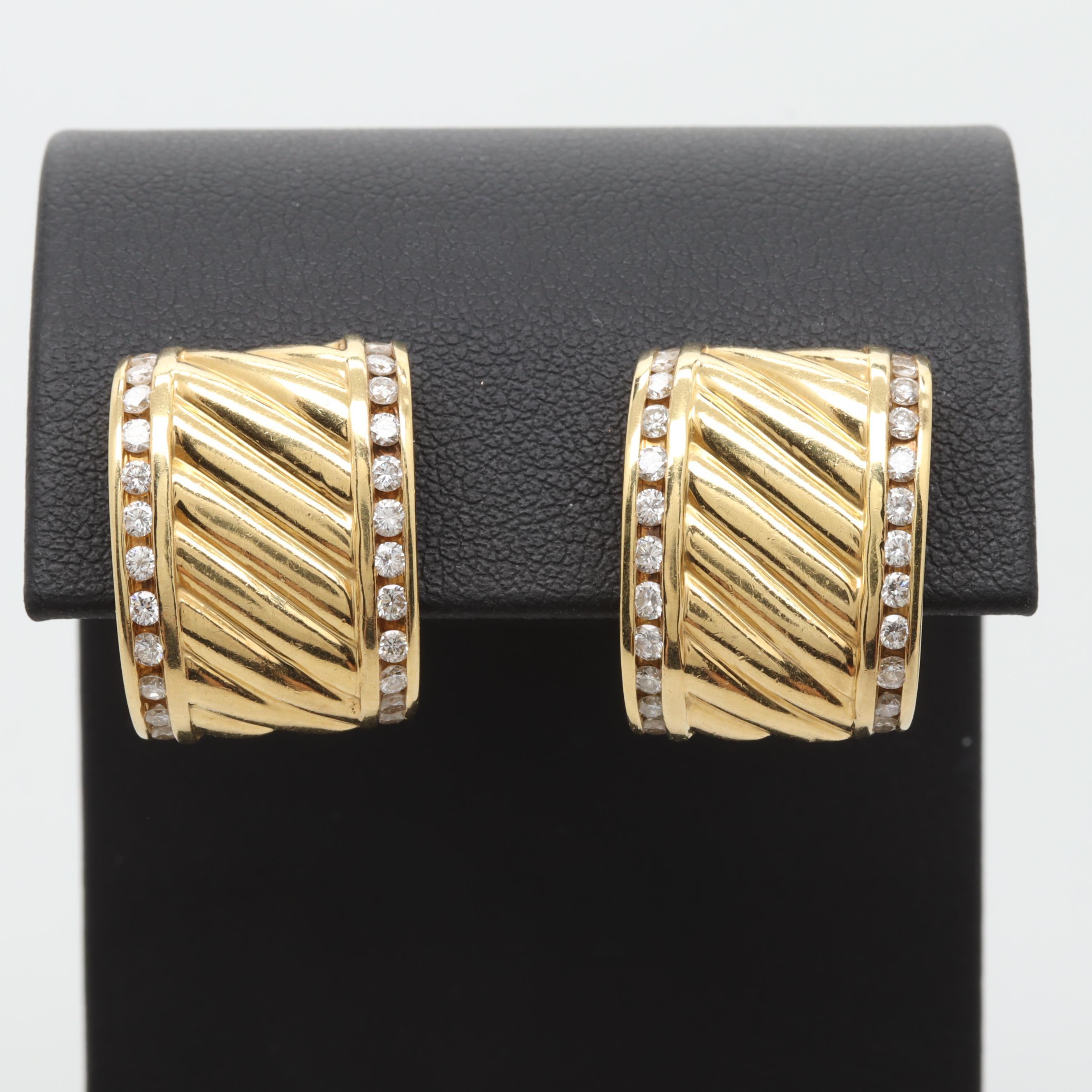 David Yurman 18K Yellow Gold Diamond C-Hoops
