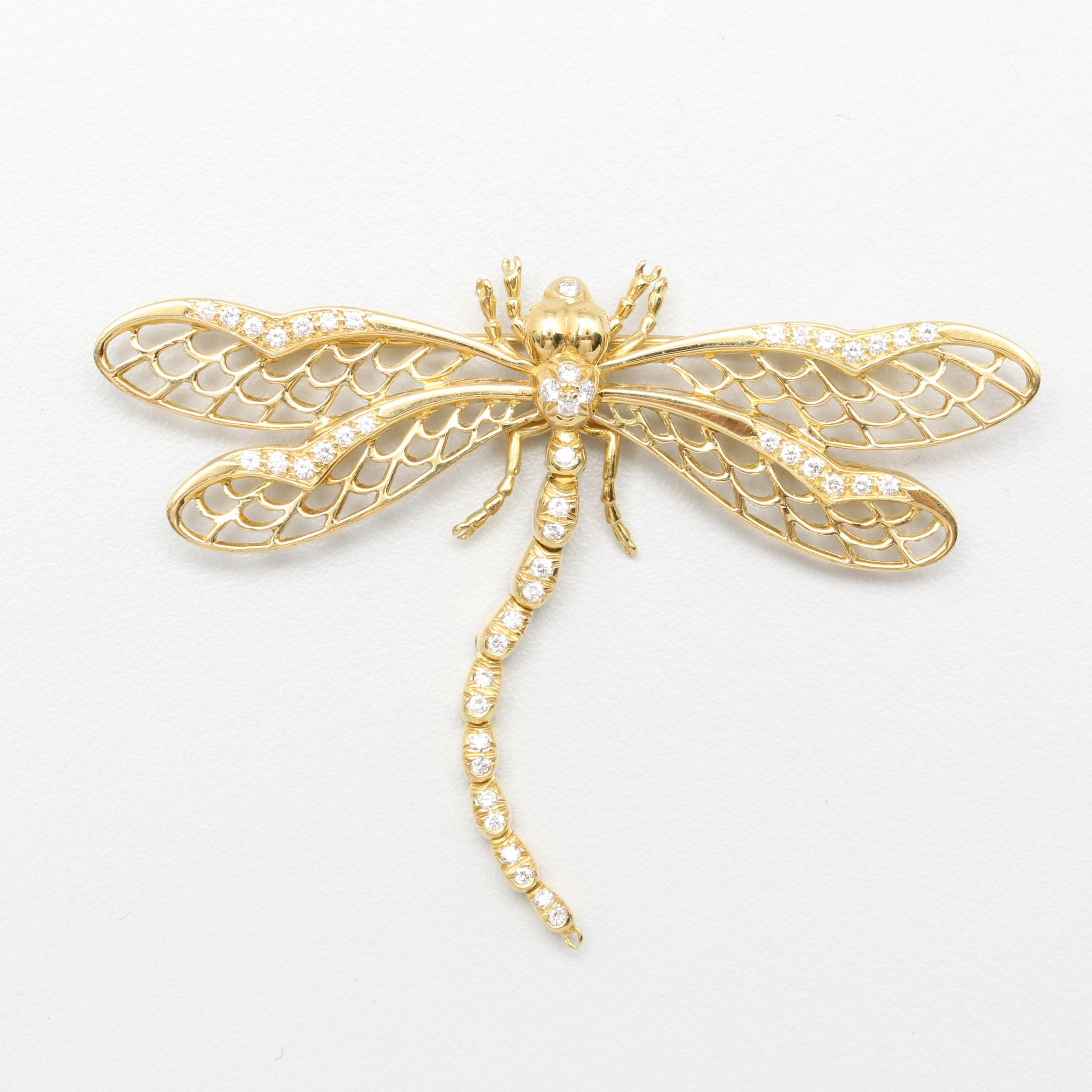 18K Yellow Gold Diamond Articulated Dragonfly Brooch