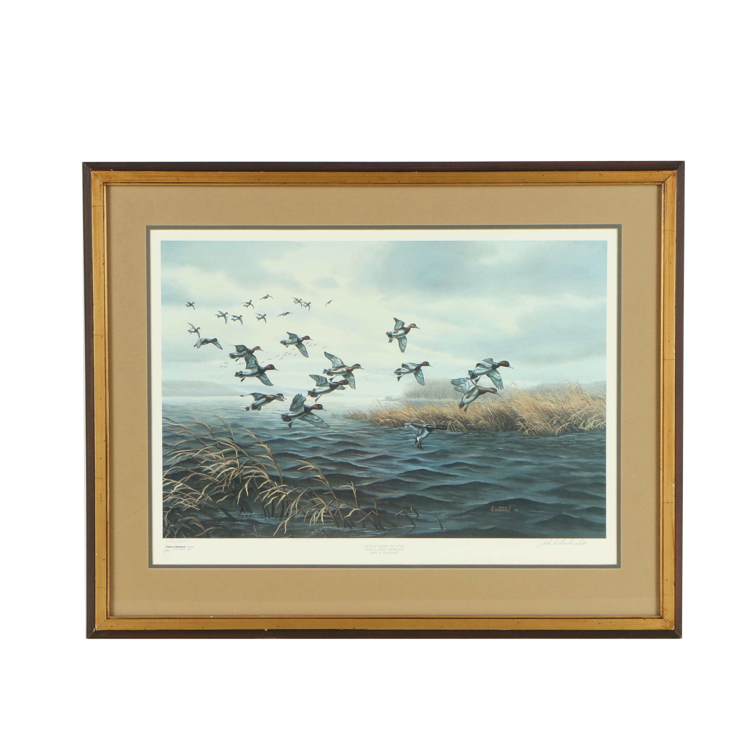 """John S. Eberhardt Offset Lithograph """"Tired of Fightin' the Wind"""""""