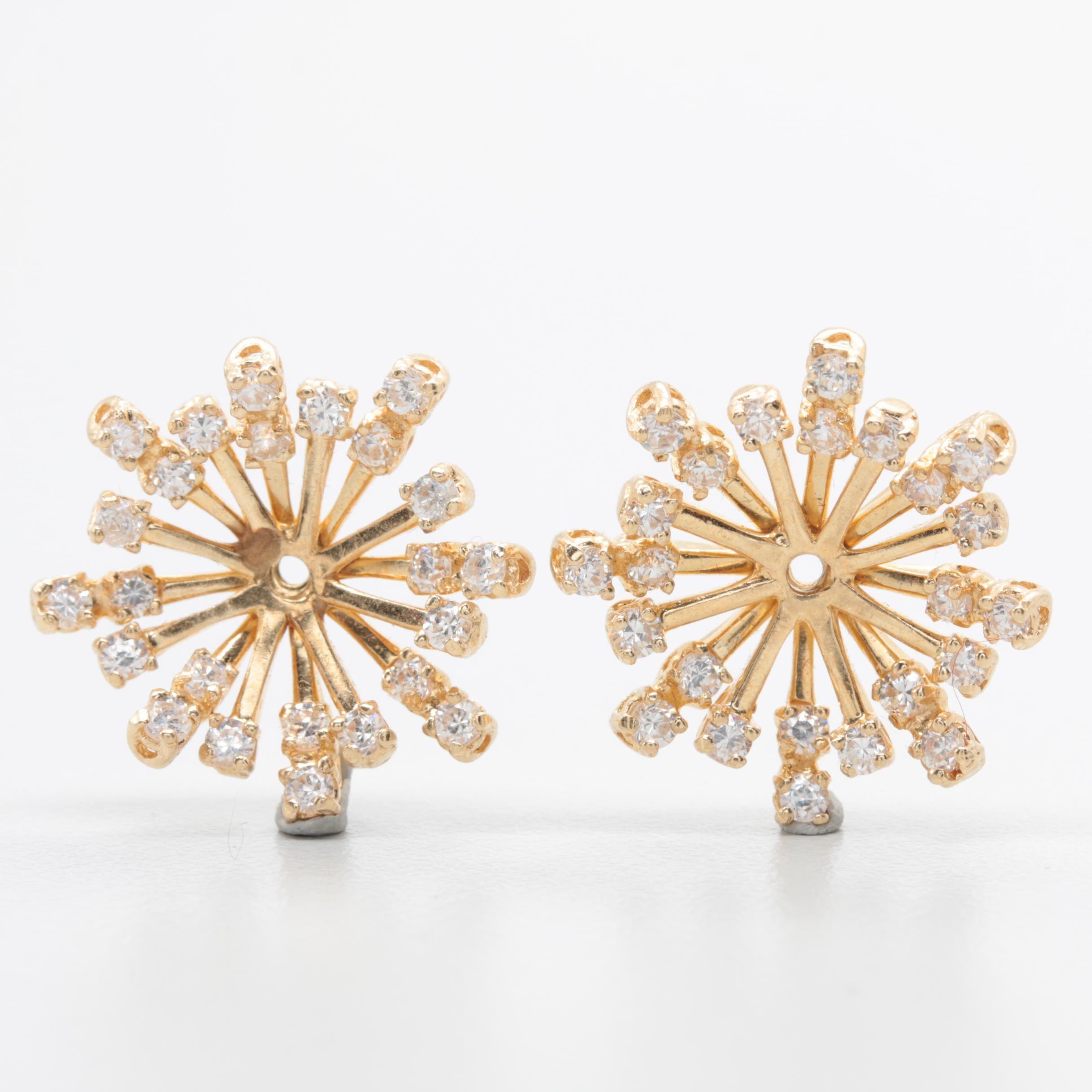 14K Yellow Gold Cubic Zirconia Earring Jackets