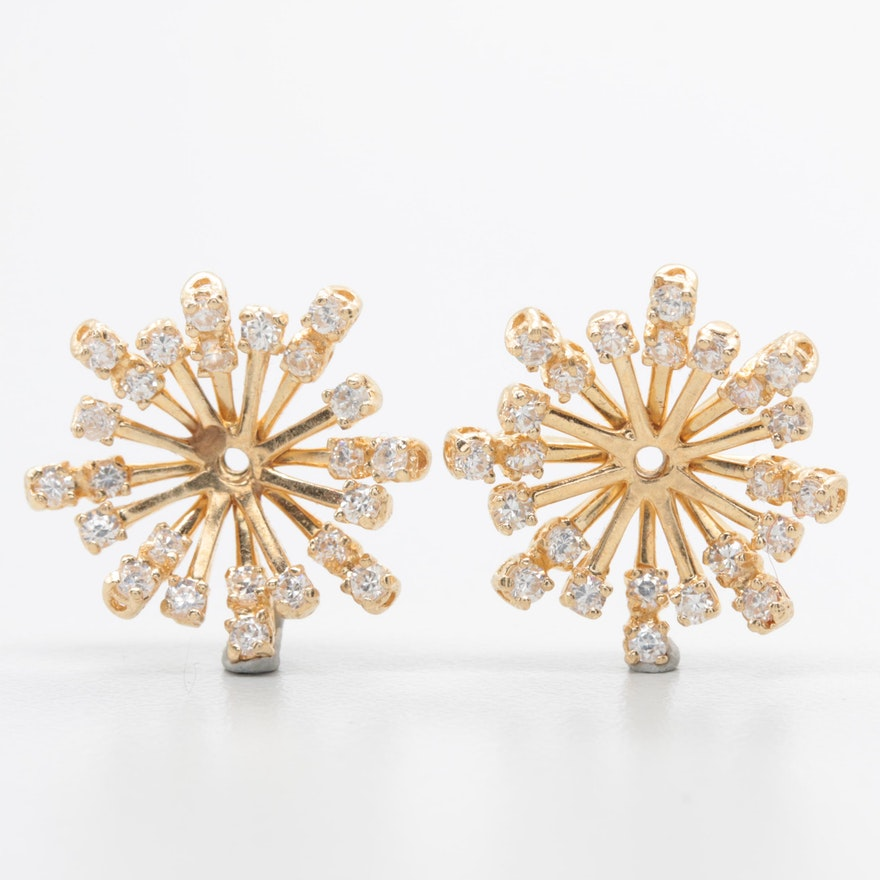 14k Yellow Gold Cubic Zirconia Earring Jackets