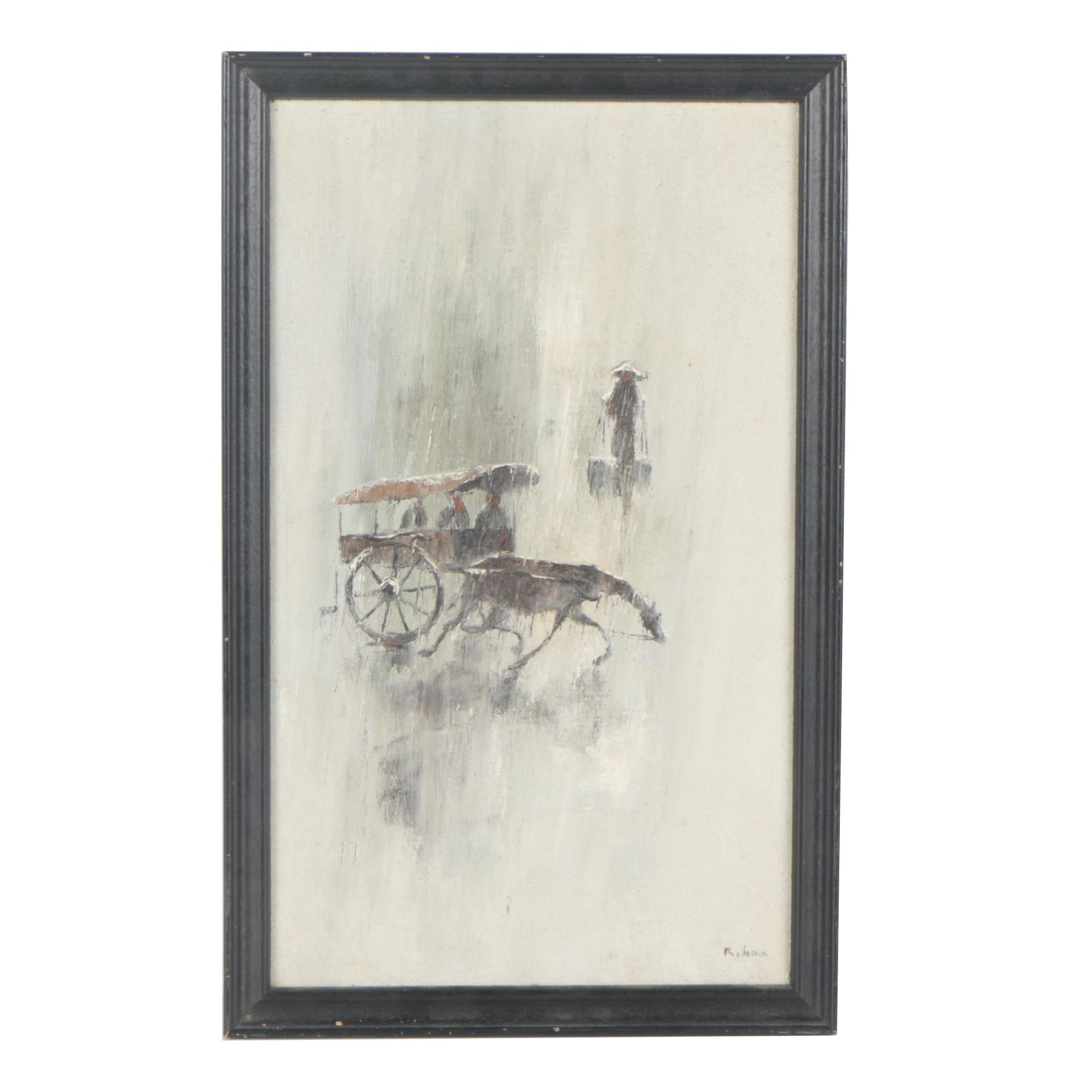 20th Century Oil Painting of Horse and Carriage