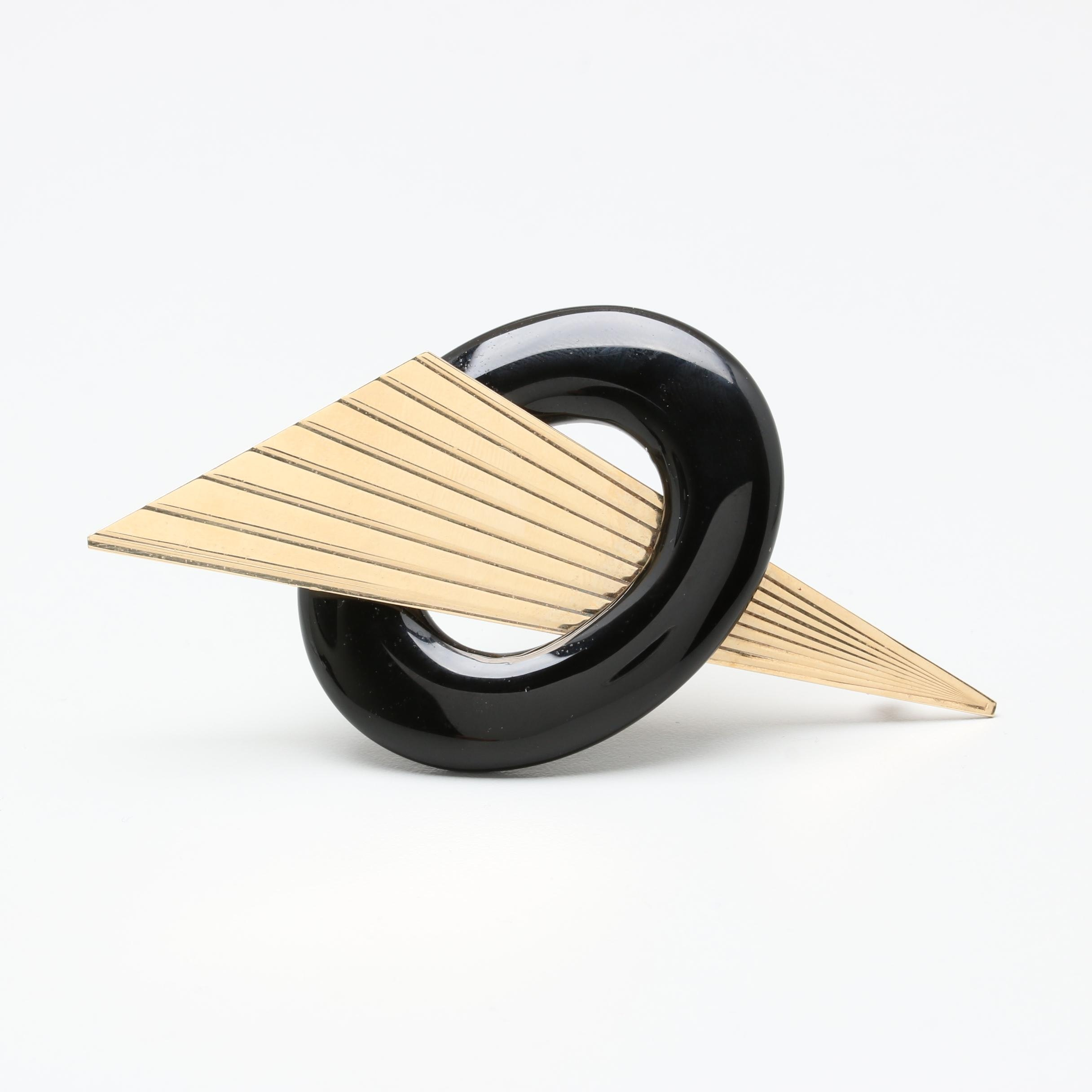 Contemporary 14K Yellow Gold Black Onyx Geometric Brooch