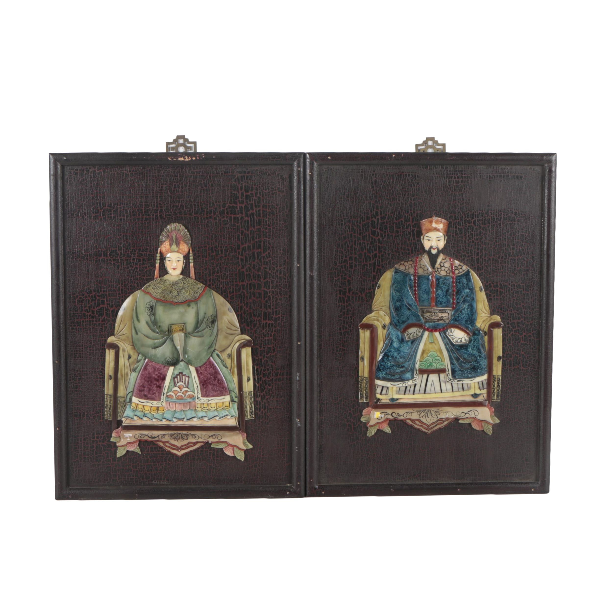Chinese Ancestor Painted Soapstone Relief Portraits