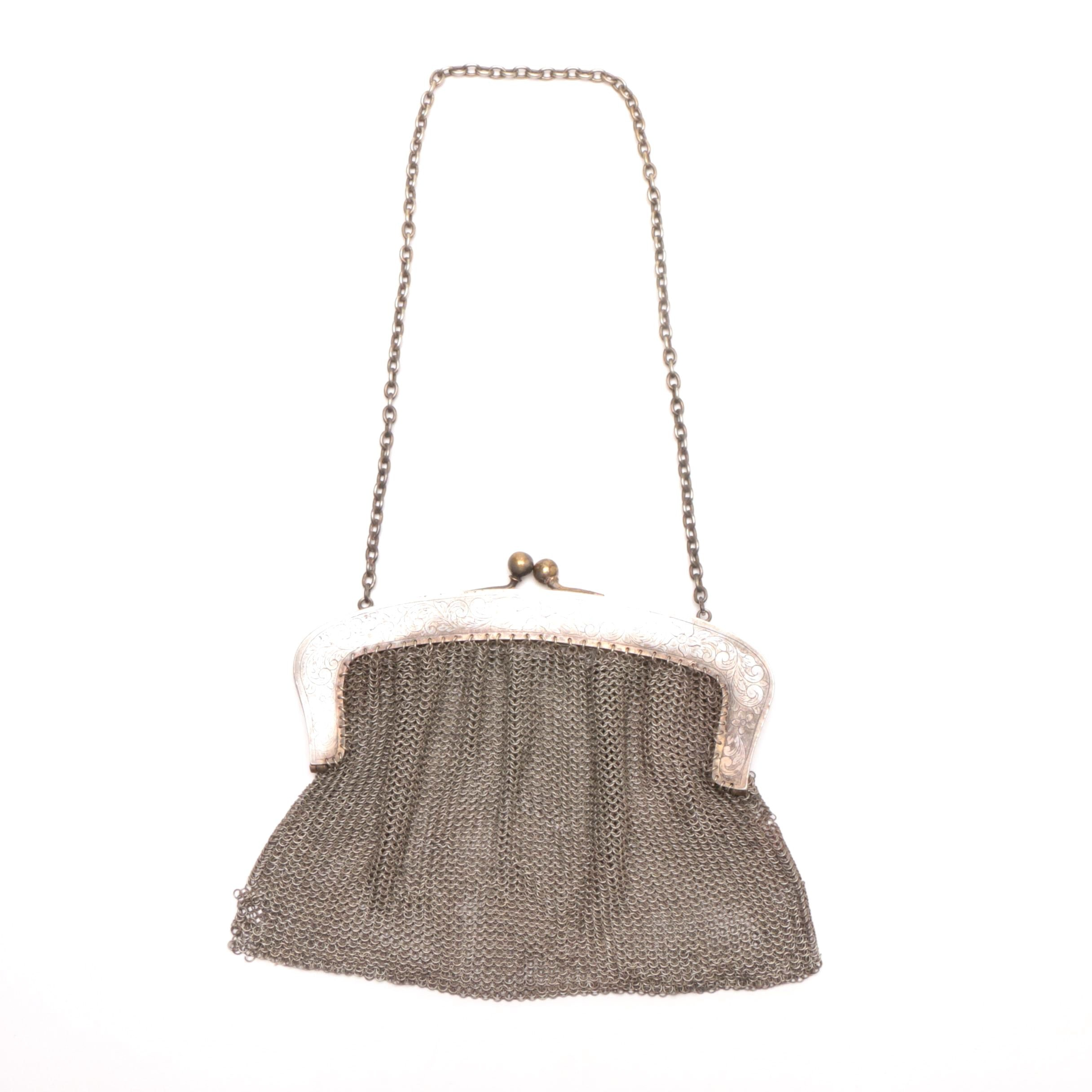 Early 20th Century Silver Plate Mesh Evening Bag