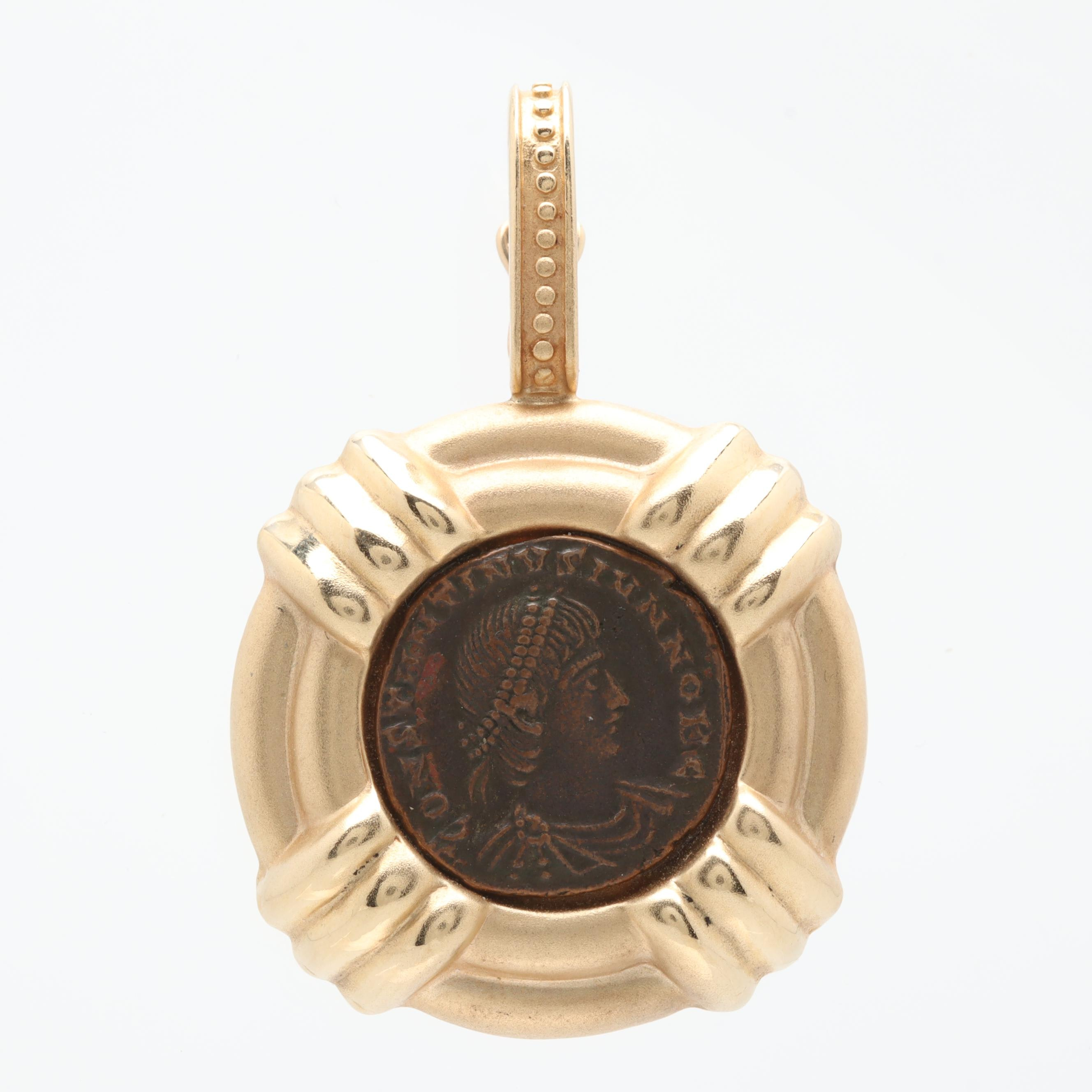 14K Yellow Gold Pendant with Ancient Roman Constantine II Bronze Coin