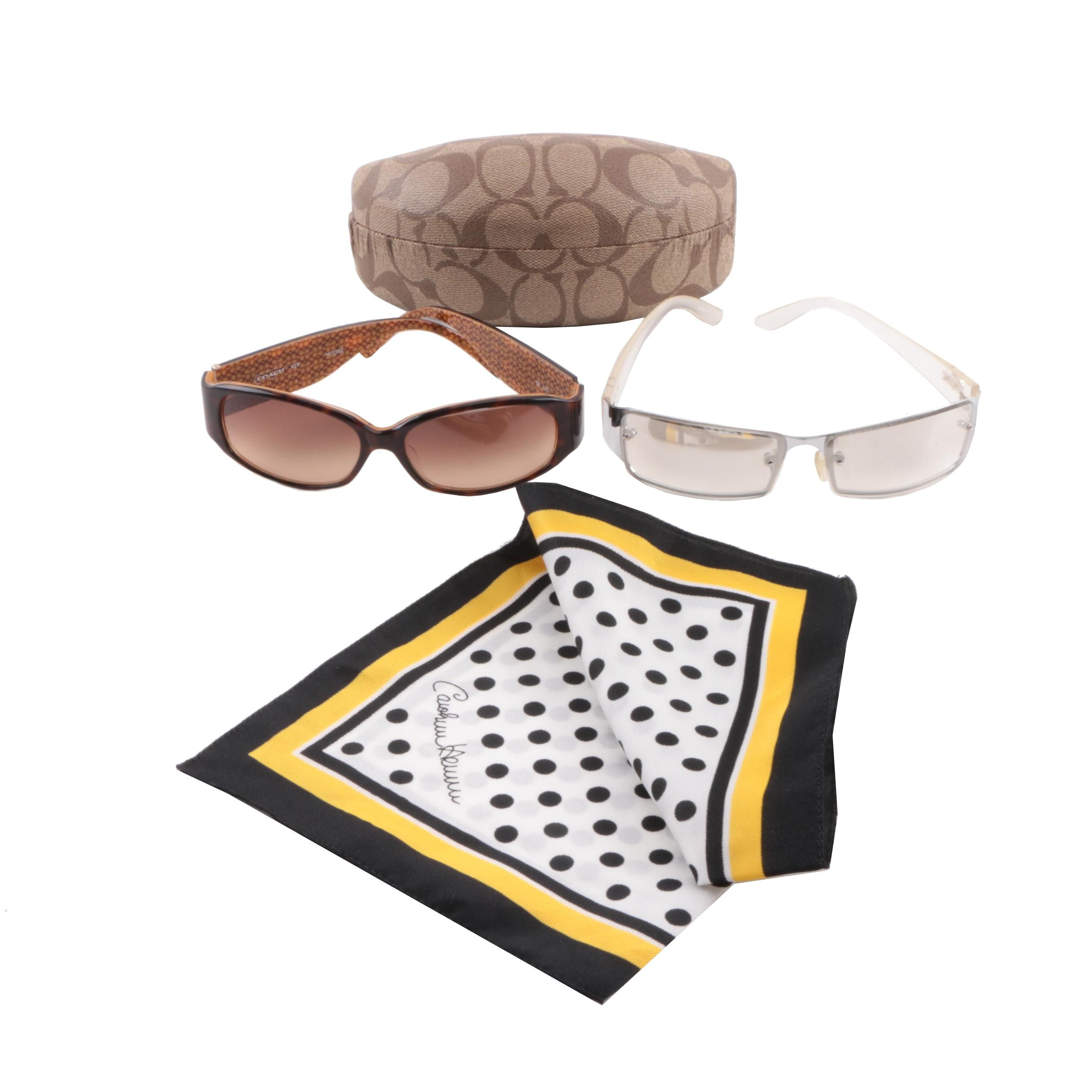 Coach Tortoise Style and Lacoste Sunglasses with Herrera Pocket Square