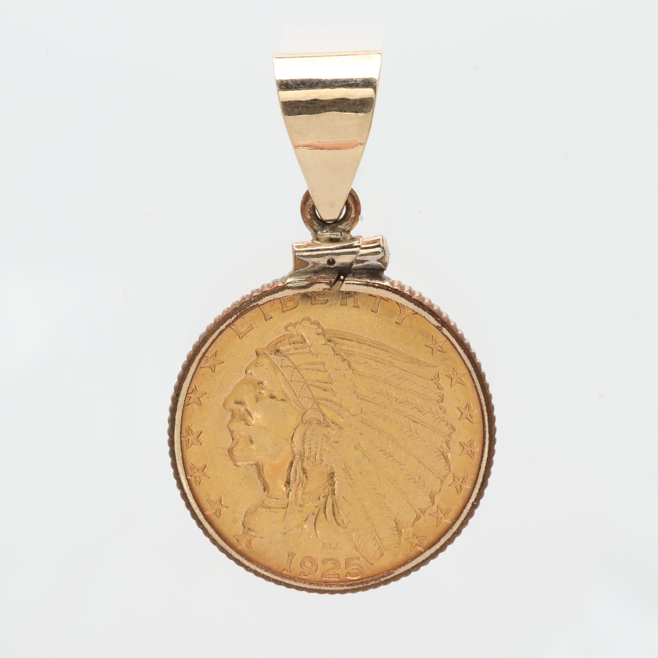 14K Yellow Gold Pendant with 1925-D Indian Head $2.50 Gold Coin