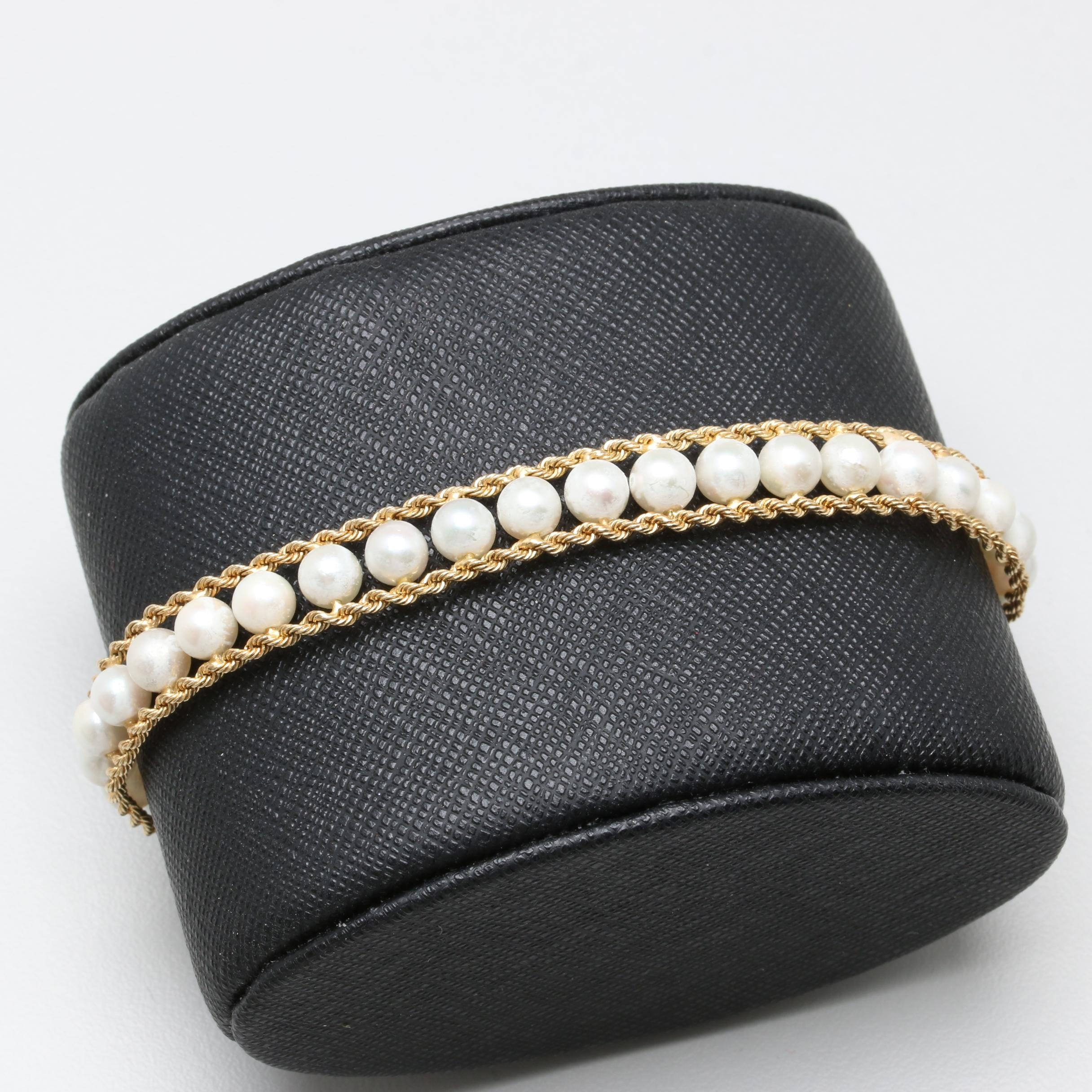 14K Yellow Gold Cultured Pearl Rope Link Bracelet