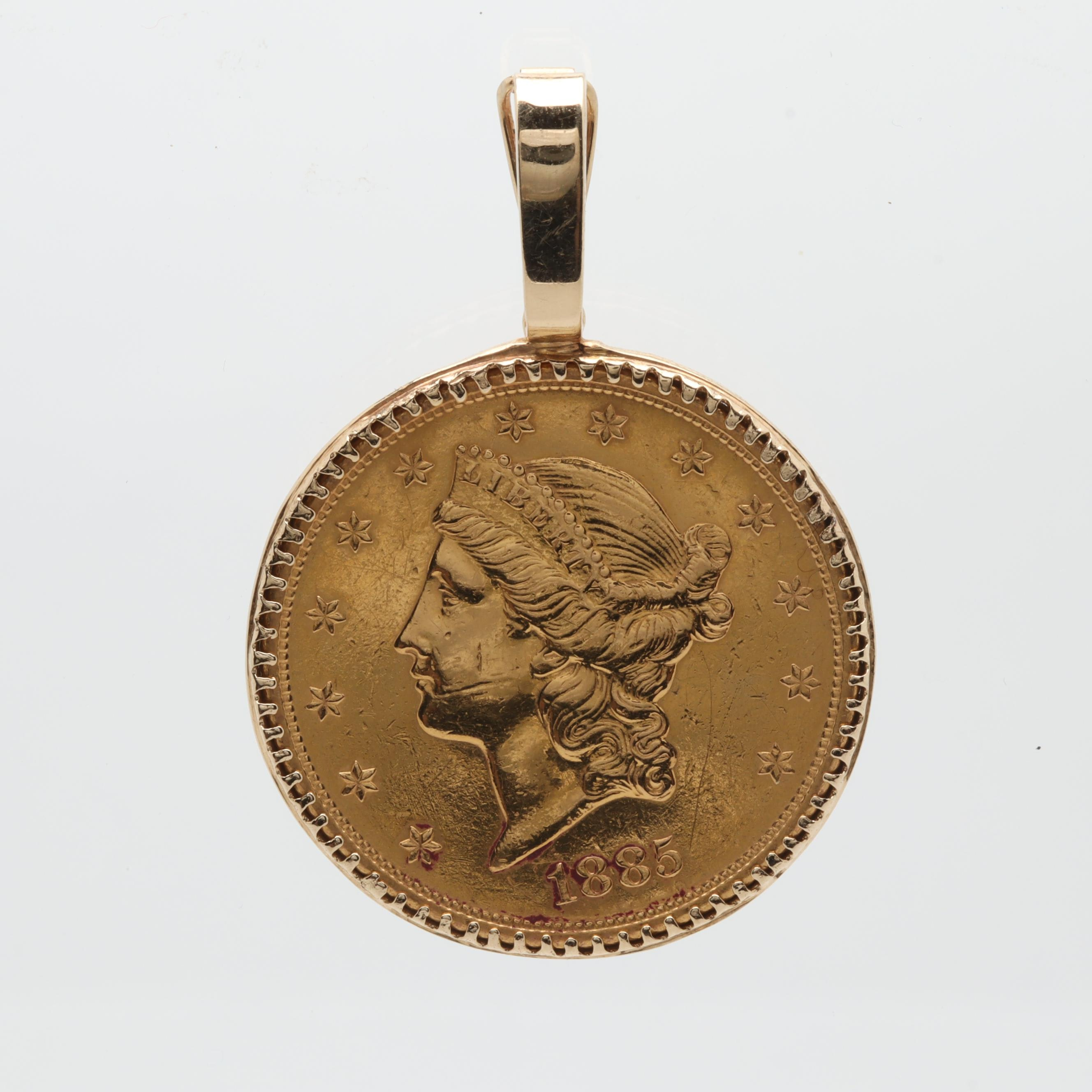 14K Yellow Gold Pendant with 1885-S Liberty Head $20 Gold Coin