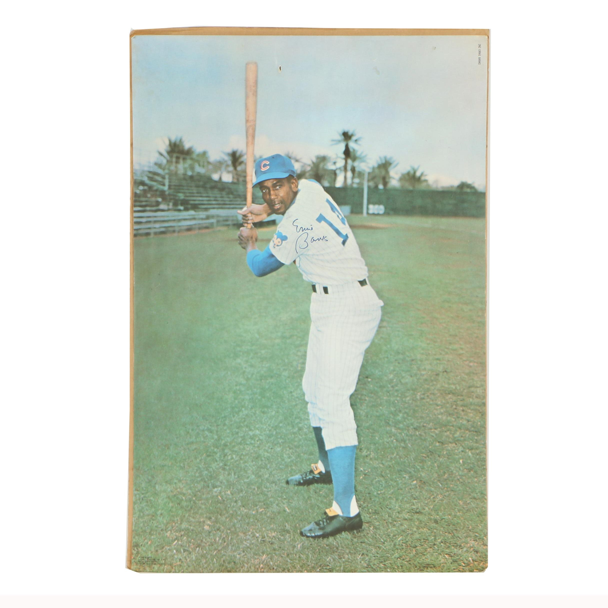Ernie Banks Autographed Offset Lithograph Poster