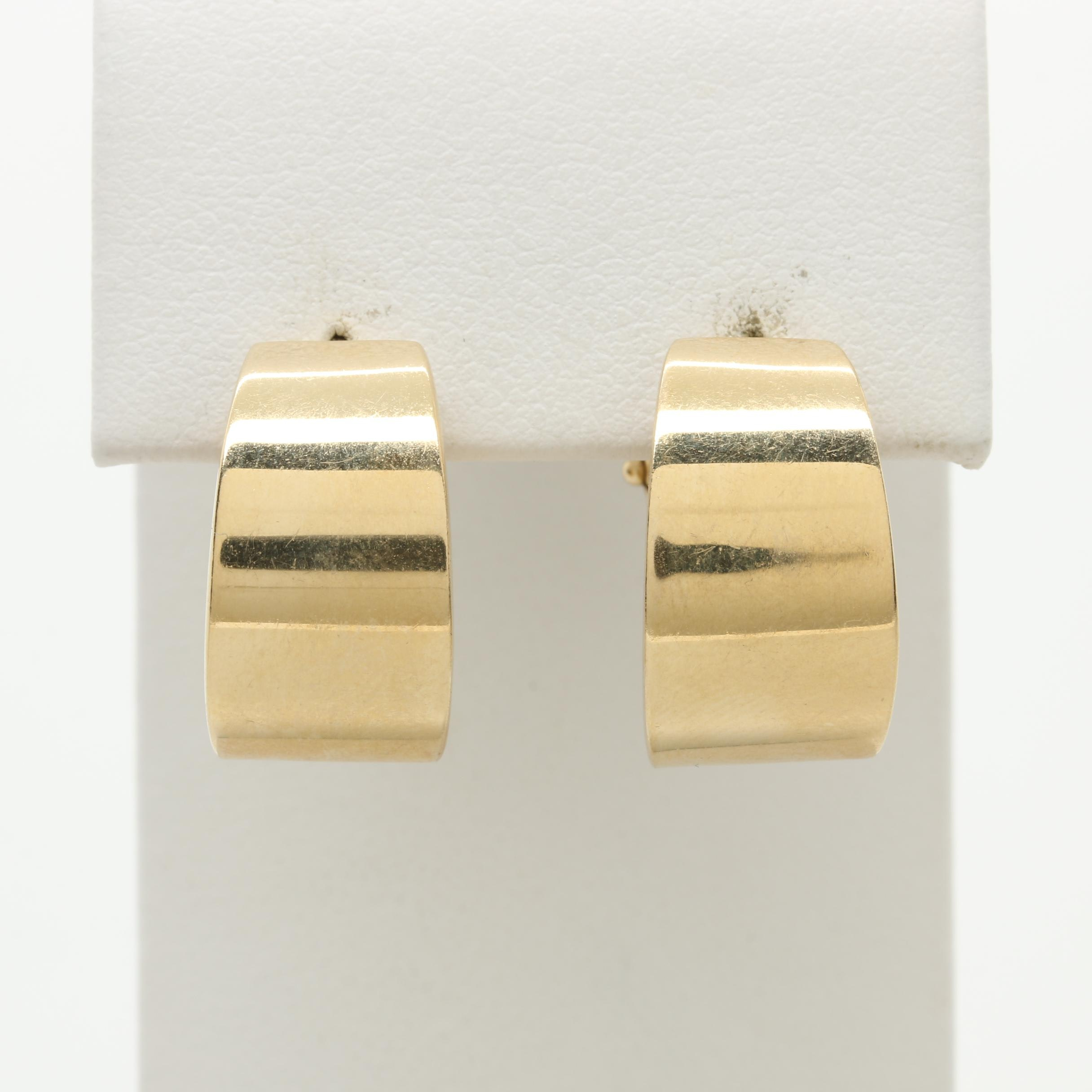 14K Yellow Gold Tapered Omega Back C-Hoop Earrings