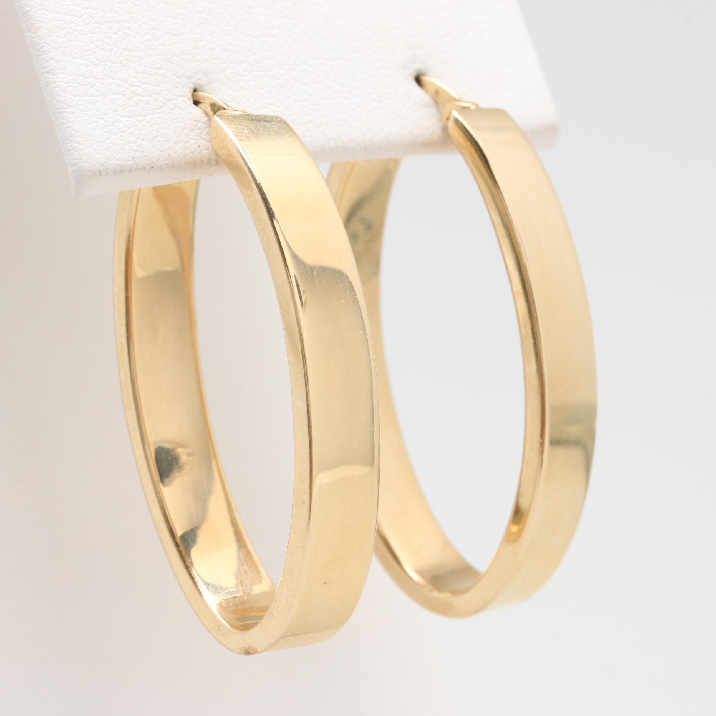 14K Yellow Gold Oval Hoops