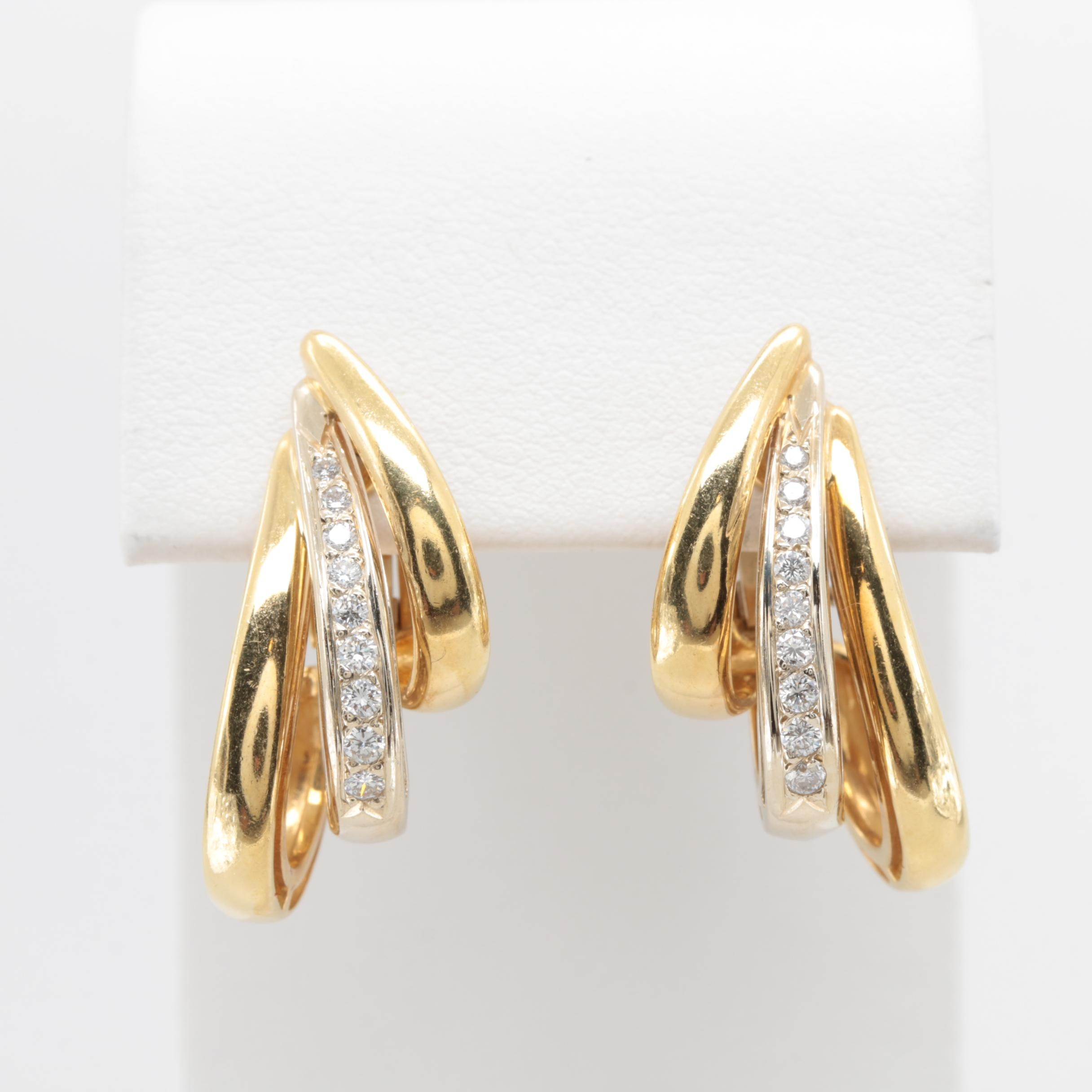 Perfecta Designs 18K Two-Tone Gold Diamond Omega Back Earrings