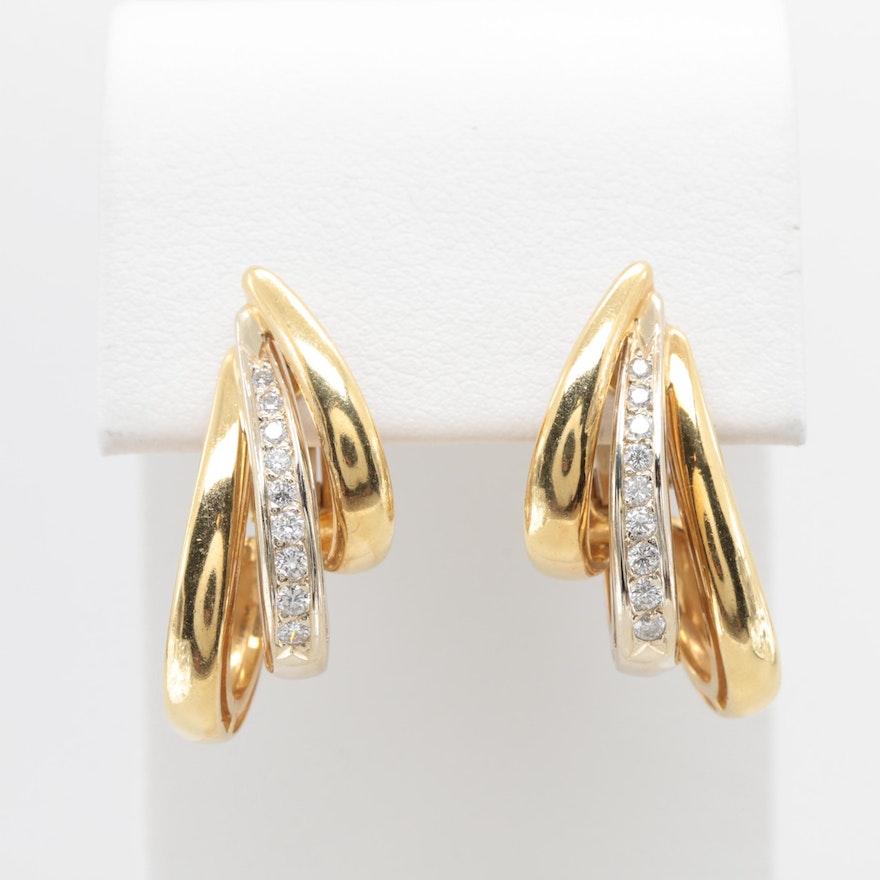 a7d42fe4e Perfecta Designs 18K Two-Tone Gold Diamond Omega Back Earrings   EBTH