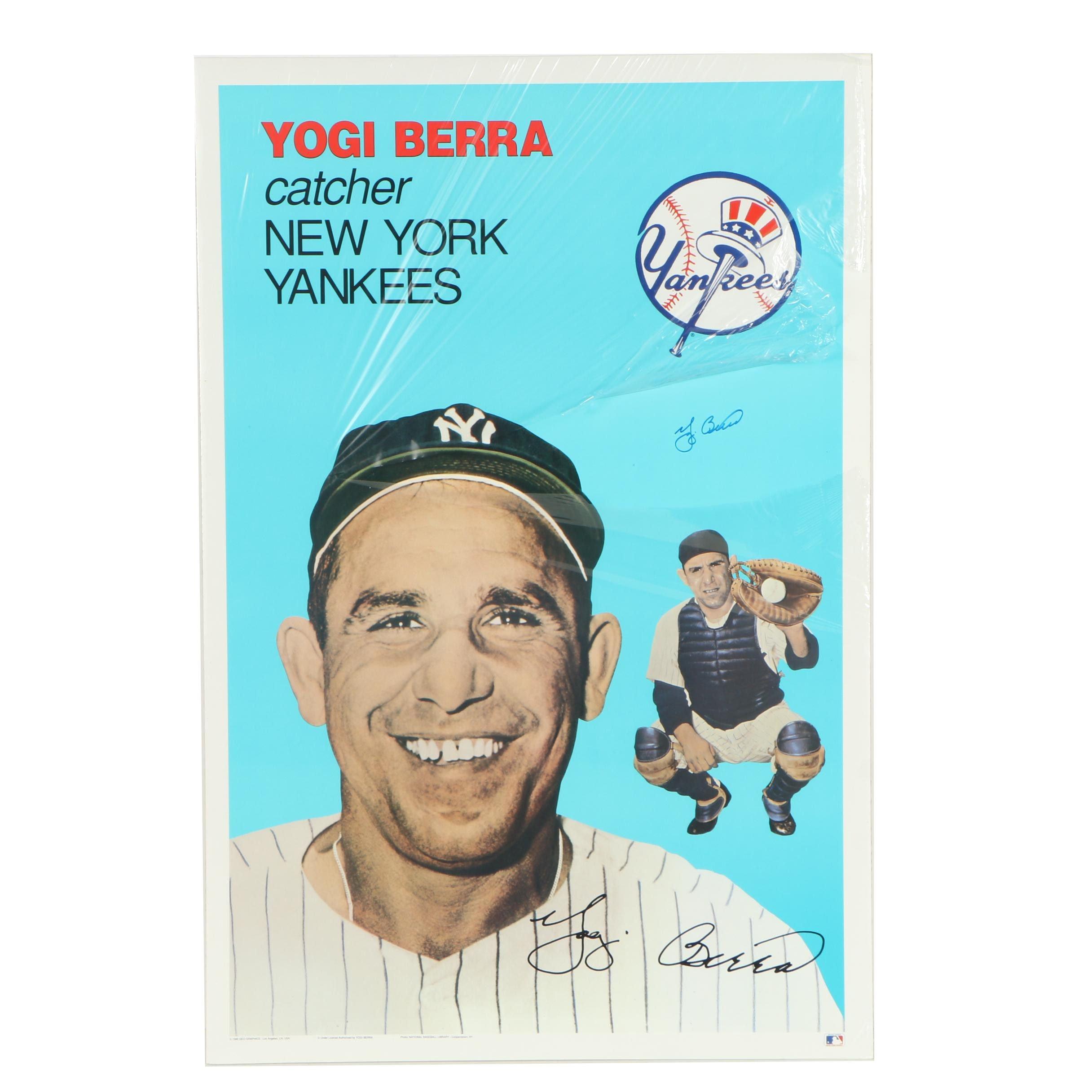 Yogi Berra Autographed New York Yankees Poster