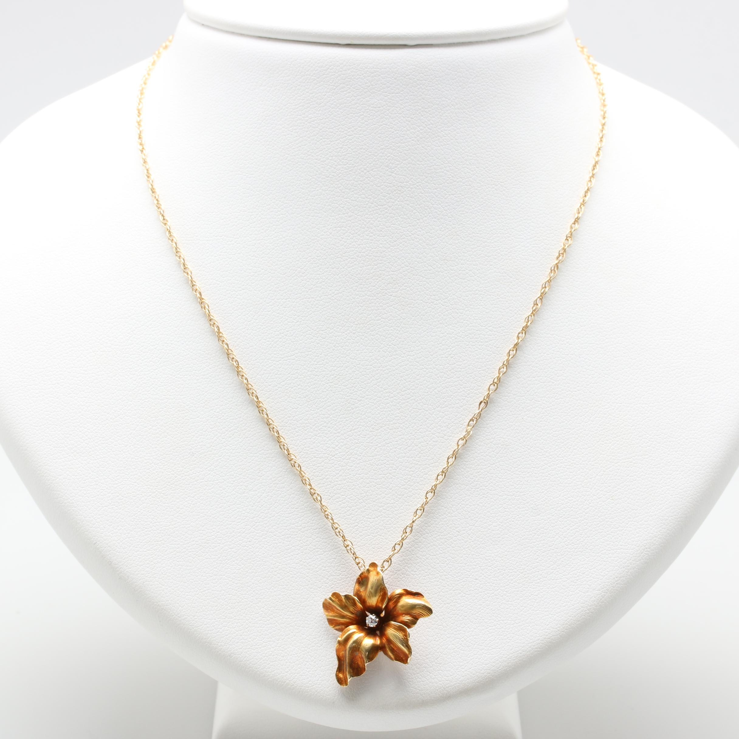 18K Yellow Gold Diamond Floral Pendant on 14K Chain
