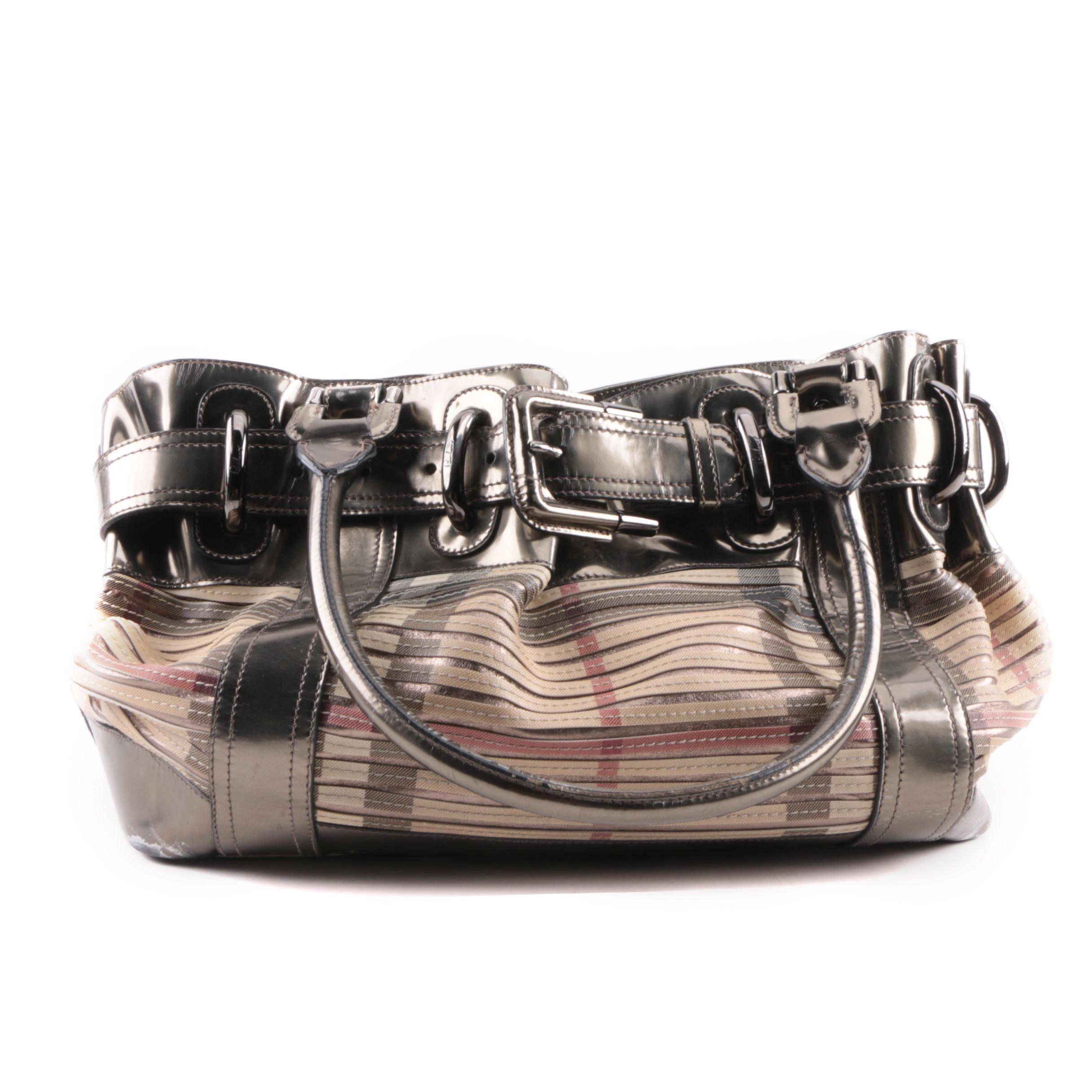 Burberry Silver Metallic Leather and Striped Coated Canvas Satchel