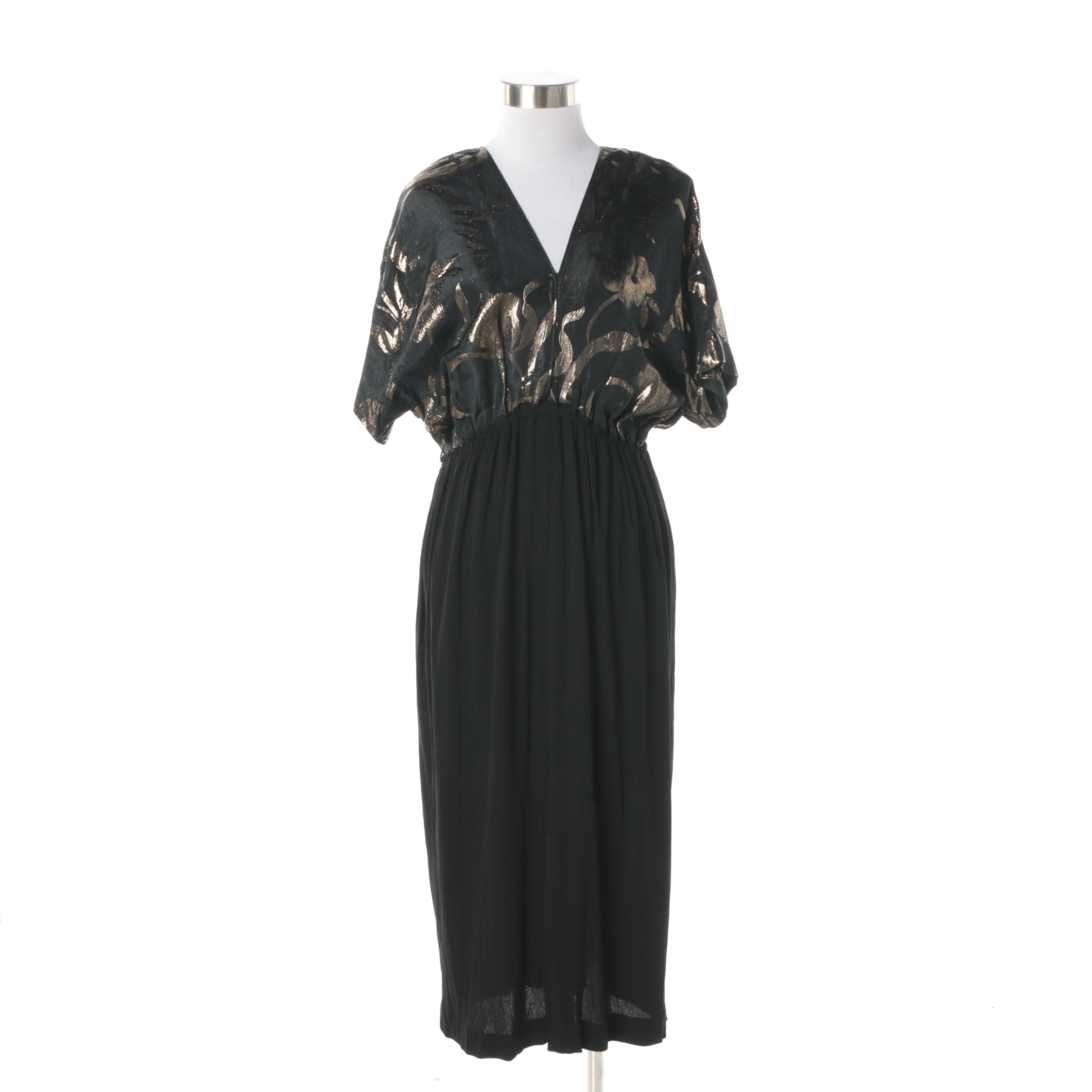 Women's Vintage Anko Black and Gold Metallic Cocktail Dress