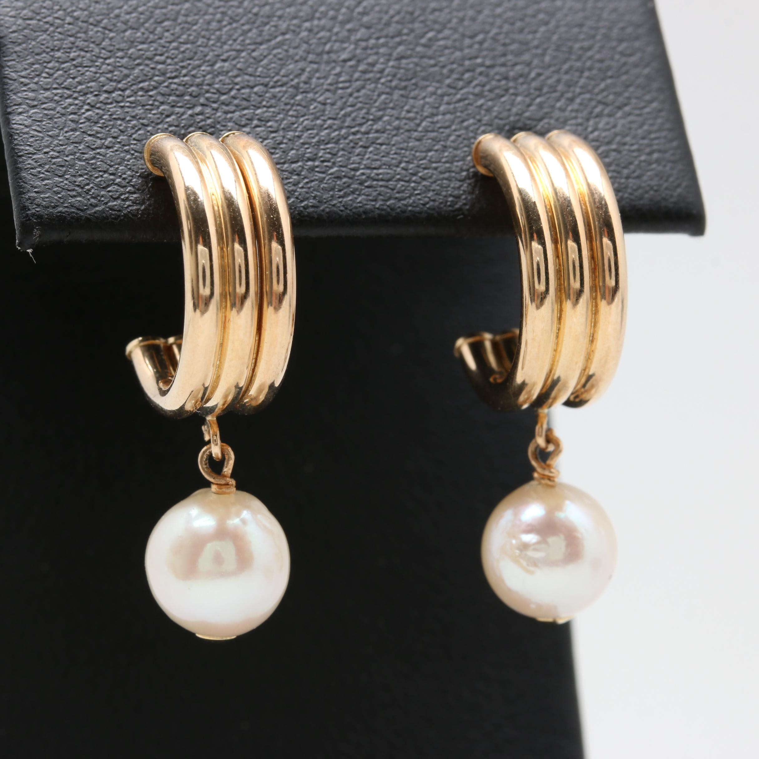14K Yellow Gold Cultured Pearl Hoops