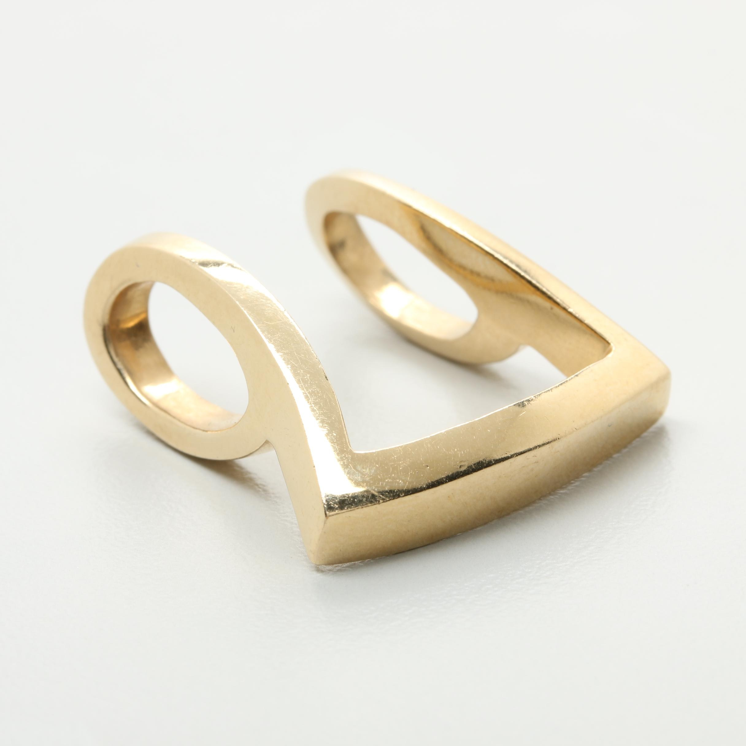 14K Yellow Gold Geometric Pendant Slide
