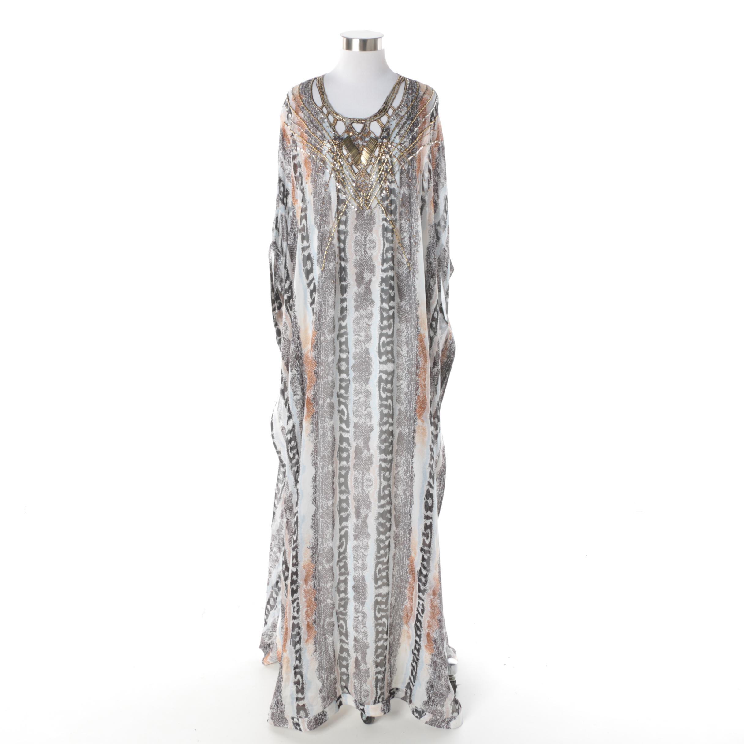 Diane von Furstenberg Silk Blend Caftan with Beaded Embellishments