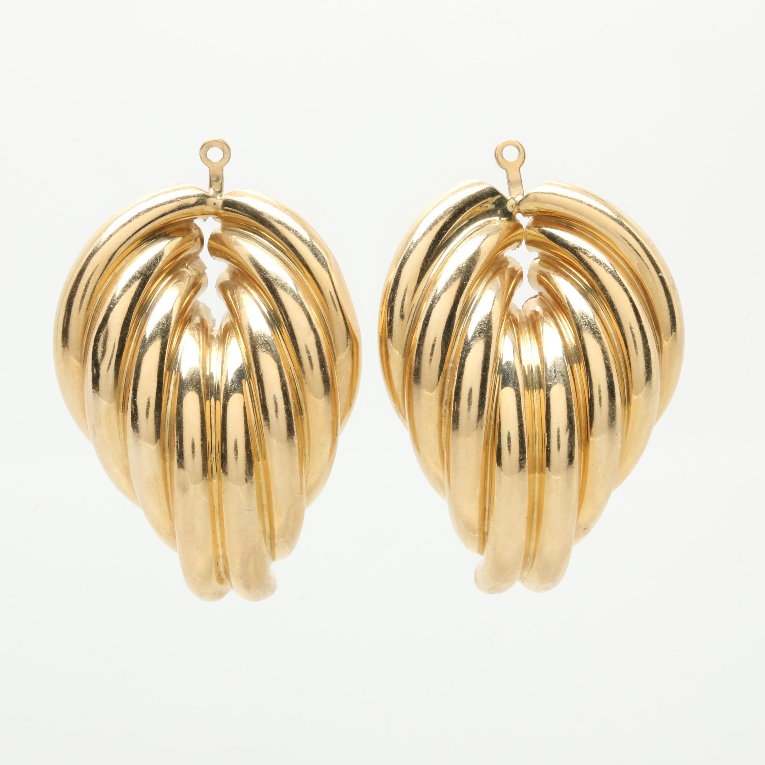14K Yellow Gold Geometric Cluster Earring Jackets