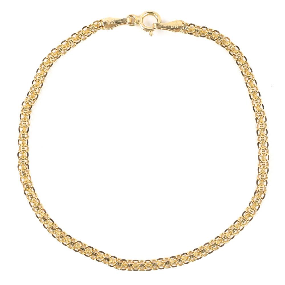 14K Yellow Gold Bismarck Link Bracelet