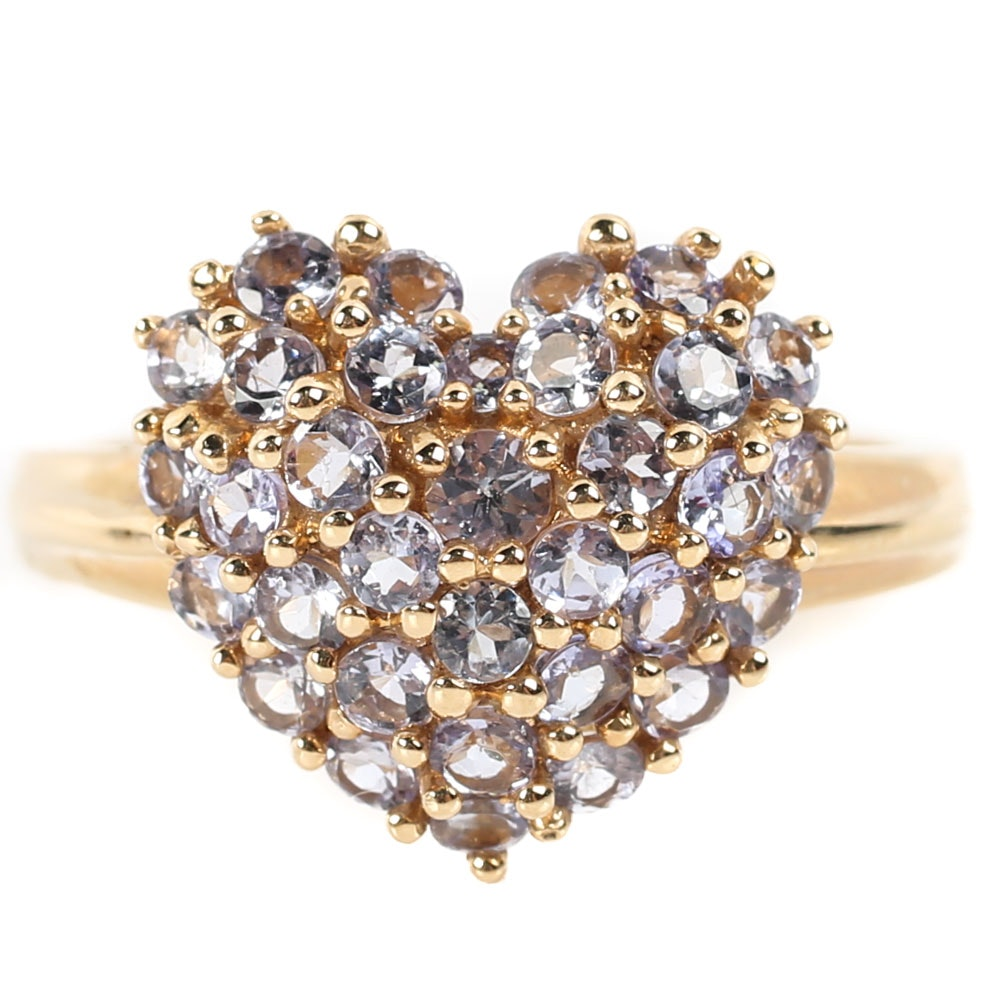 14K Yellow Gold and 1.36 CTW Tanzanite Heart Cluster Ring