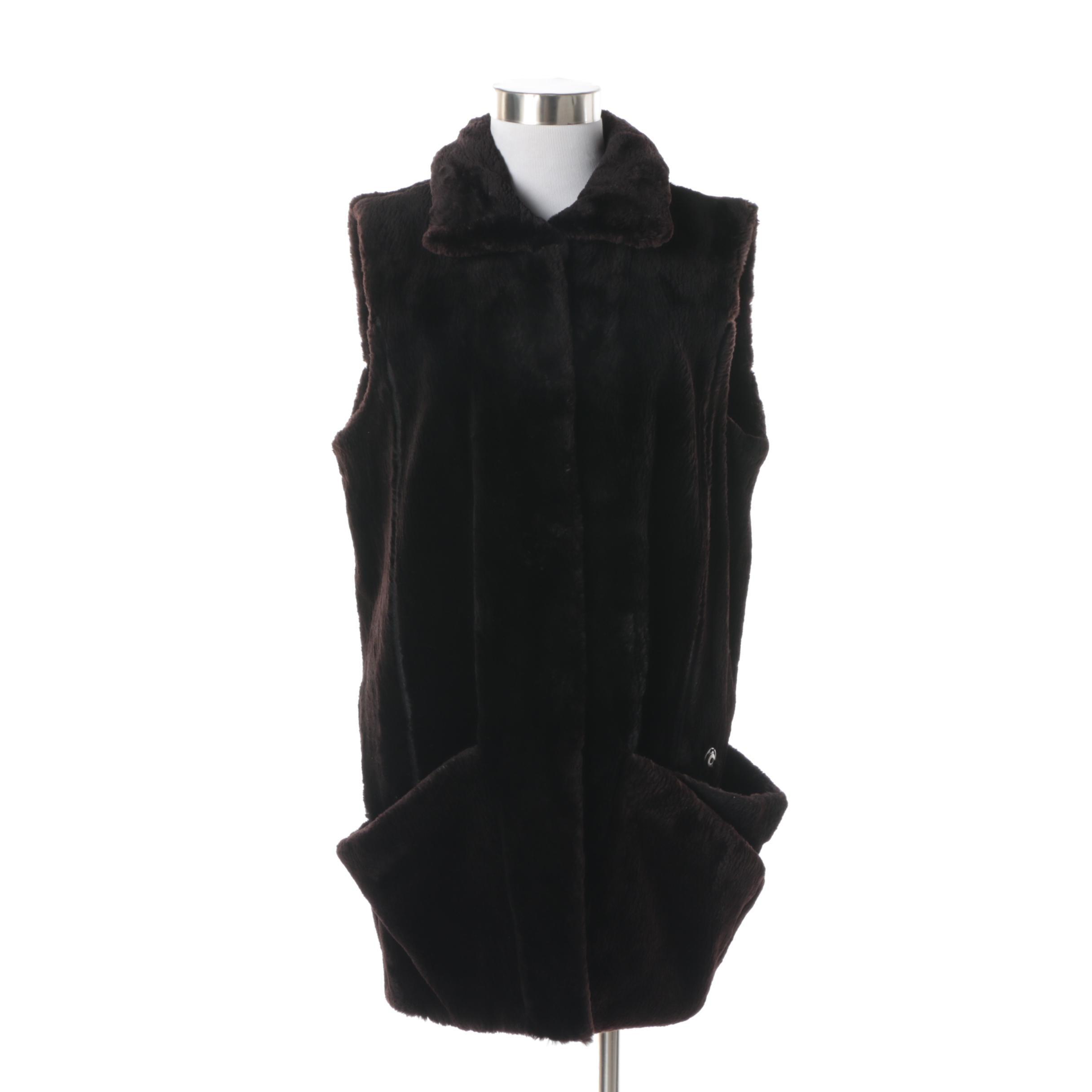 Women's Dennis Basso Black Sheared Beaver Fur Vest