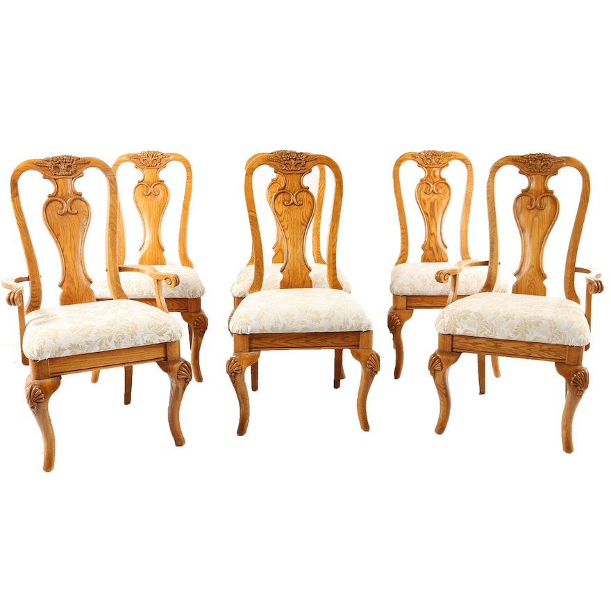 Swell Queen Anne Style Oak Dining Chairs Ebth Dailytribune Chair Design For Home Dailytribuneorg