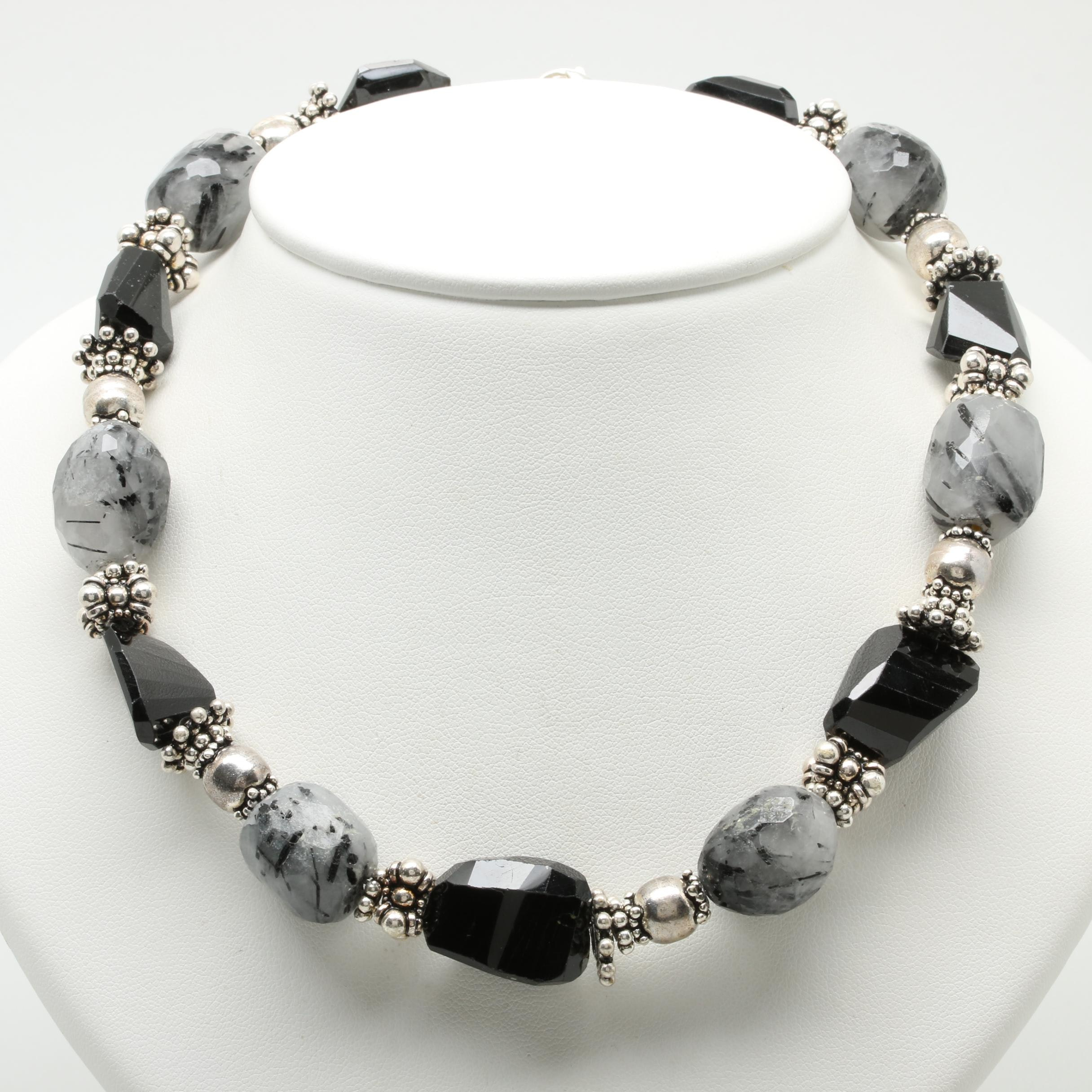 Sterling Silver Tourmalinated Quartz and Black Onyx Beaded Necklace
