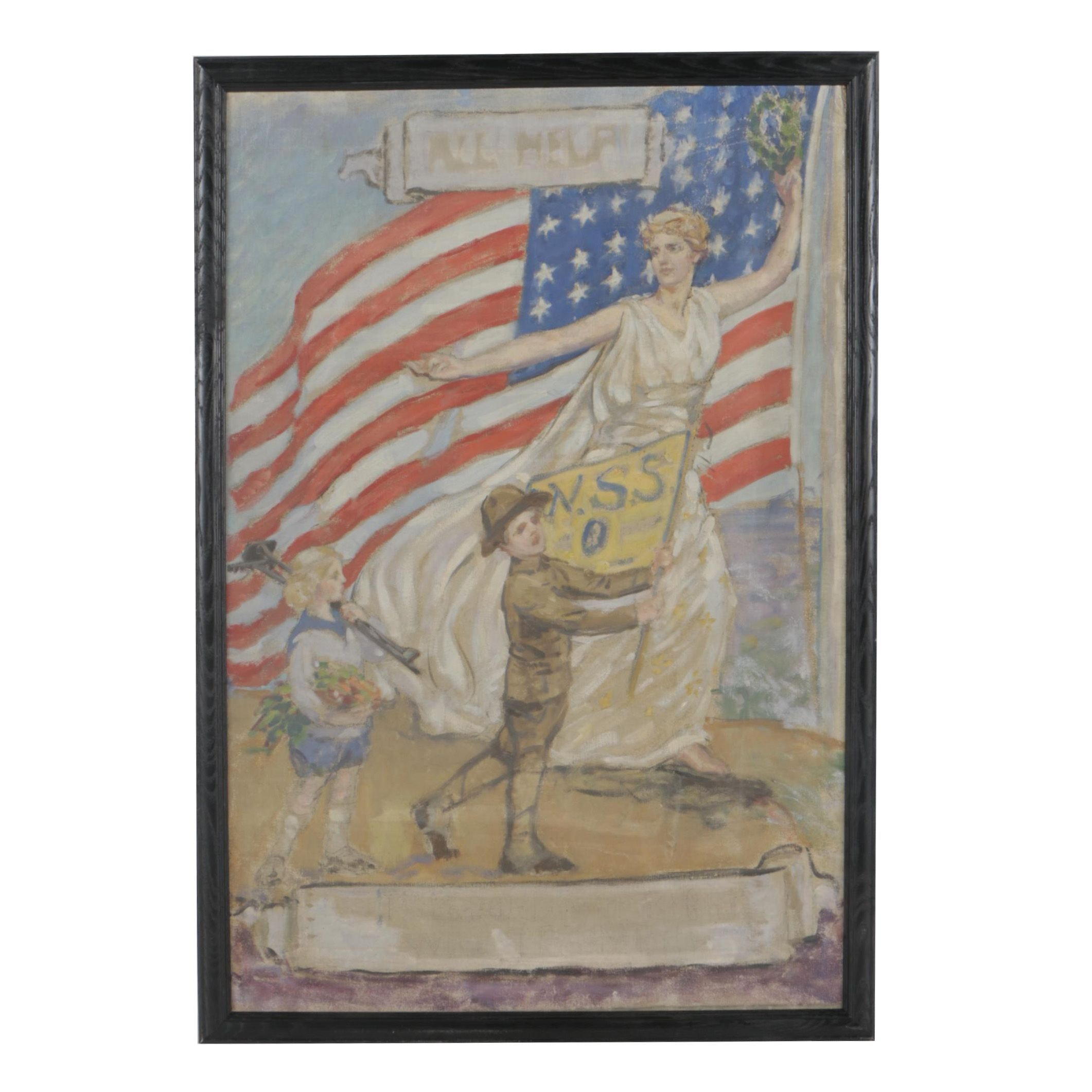 Early 20th Century Patriotic Oil Painting With Personification of Columbia