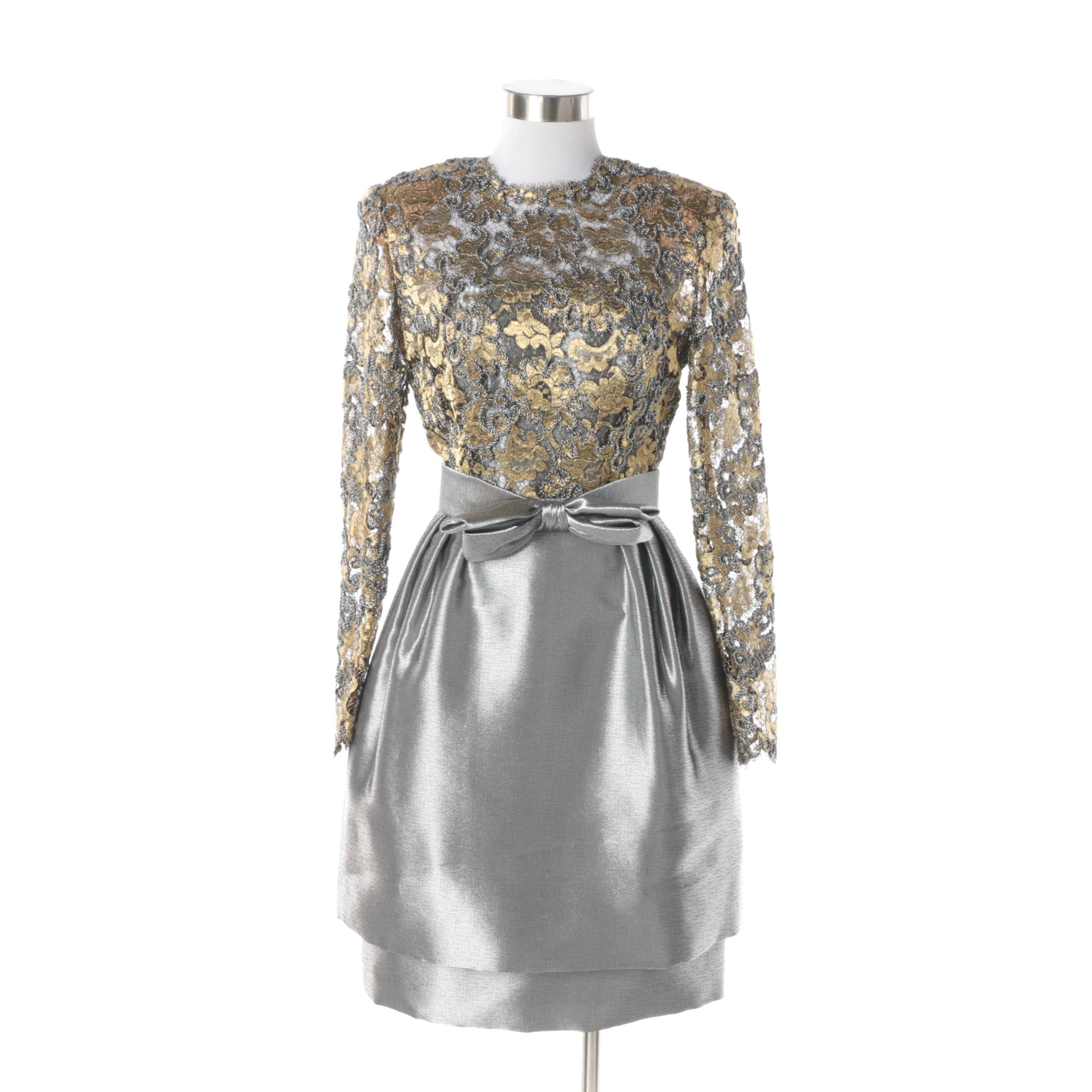 Women's Vintage Stanley Platos Martin Ross Platinum and Gold Lace Cocktail Dress