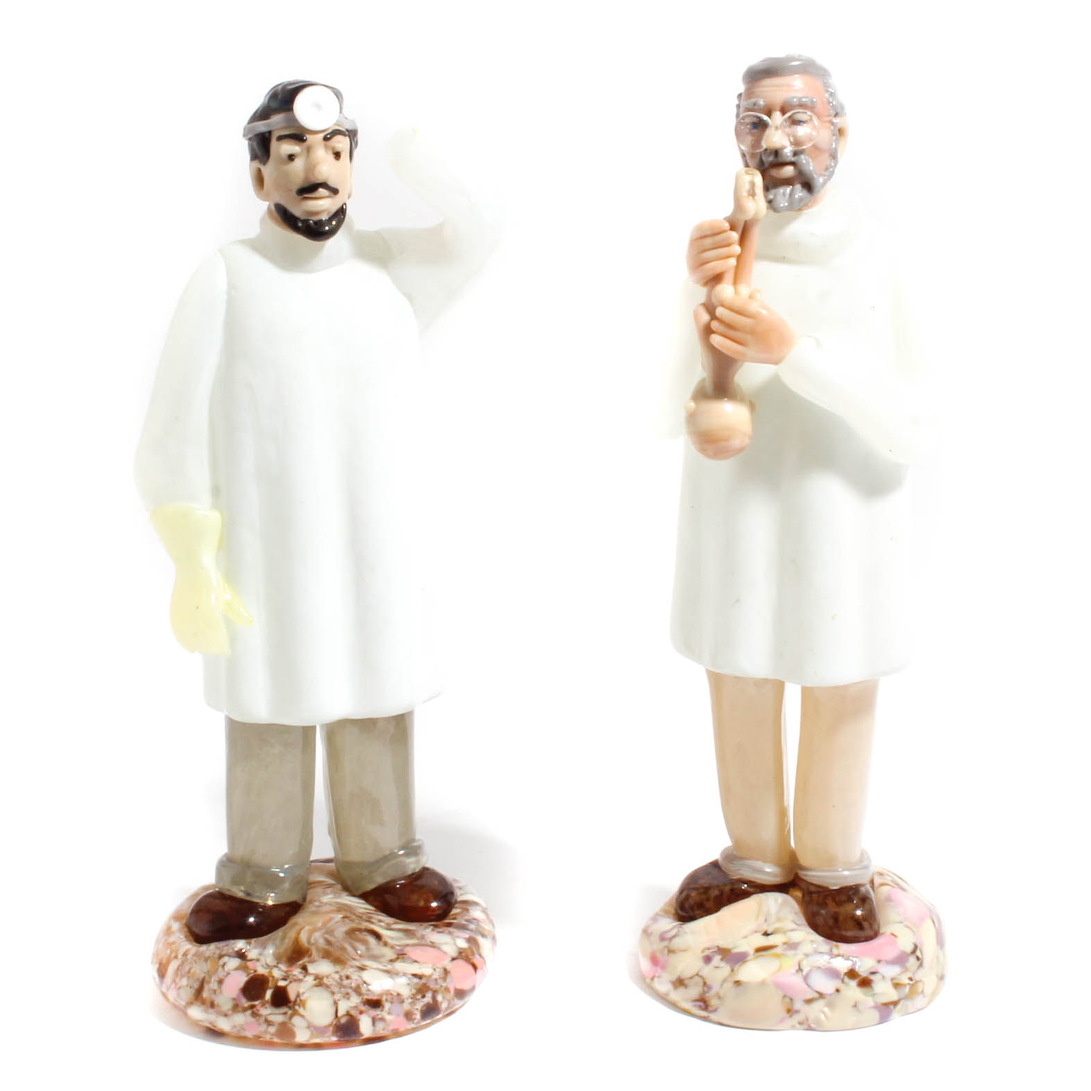 Bohemian Hand Cut Doctor Crystal Figurines from Czechoslovakia