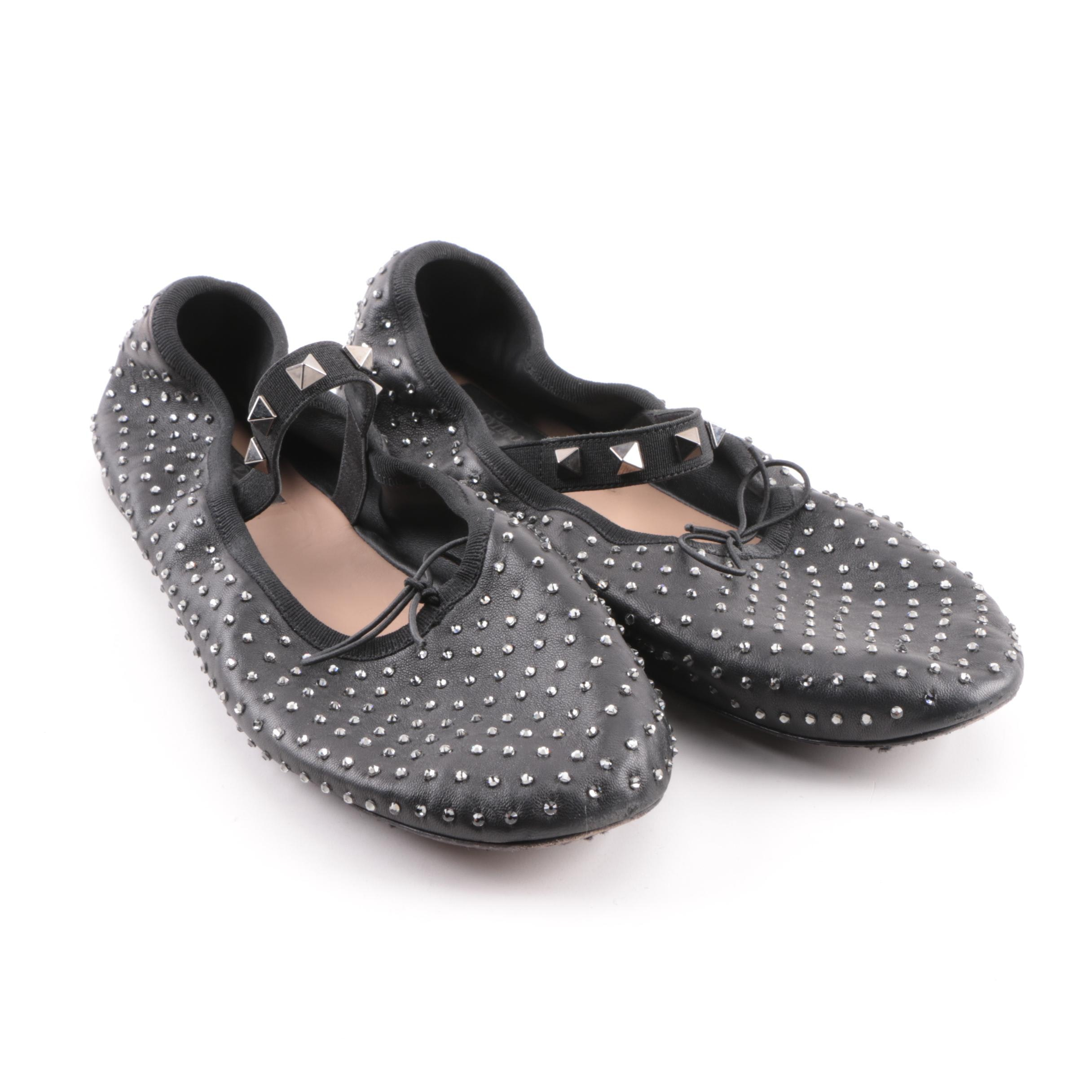 Women's Valentino Black Leather Studded Ballerina Style Flats