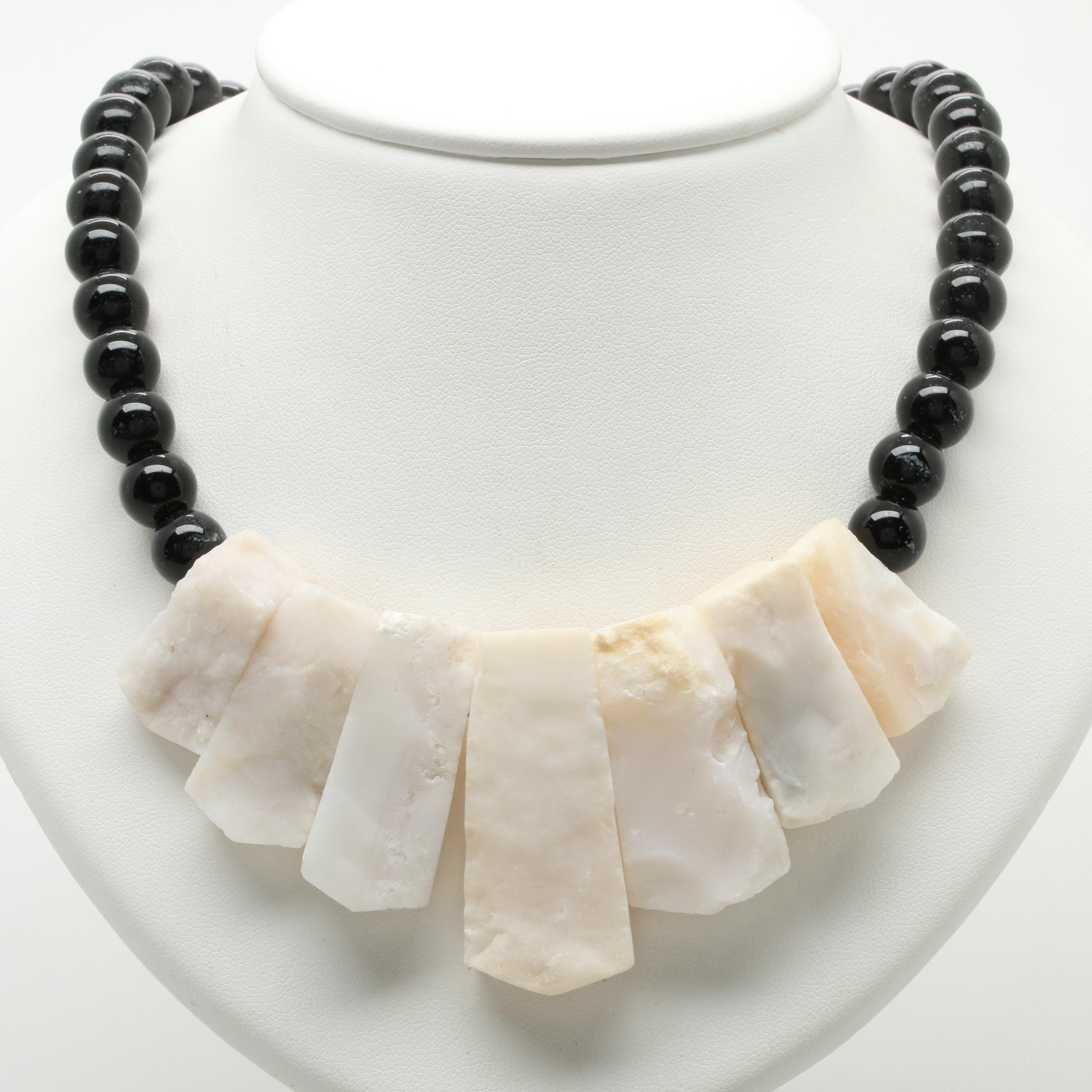 Silver Tone Marble and Black Onyx Necklace