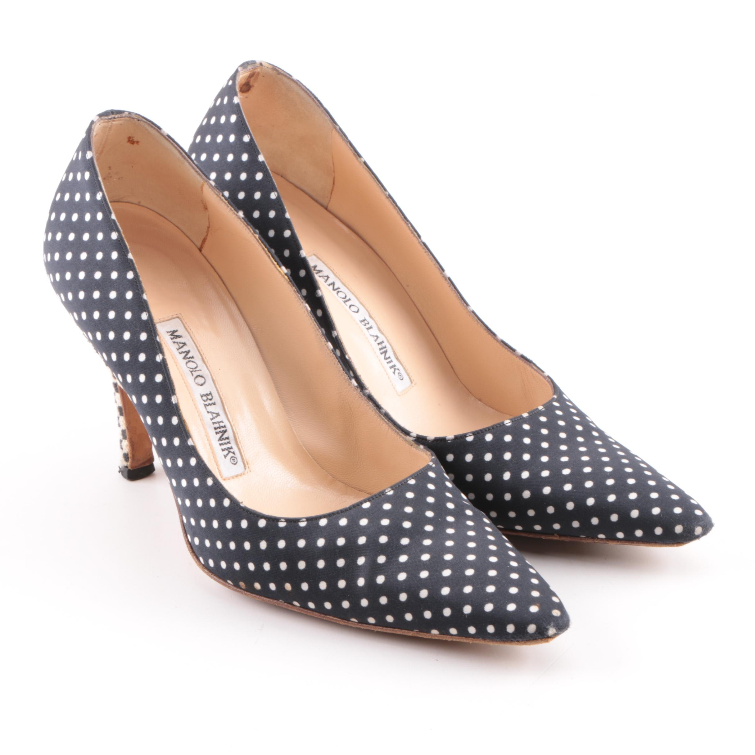 Manolo Blahnik Black and White Satin Polka Dot Pumps