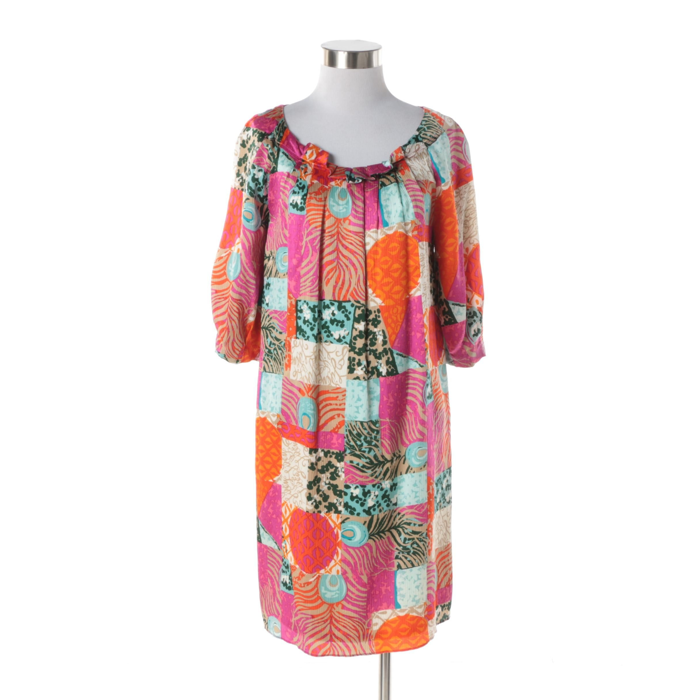 Women's Lilly Pulitzer Multi-Print Silk Dress