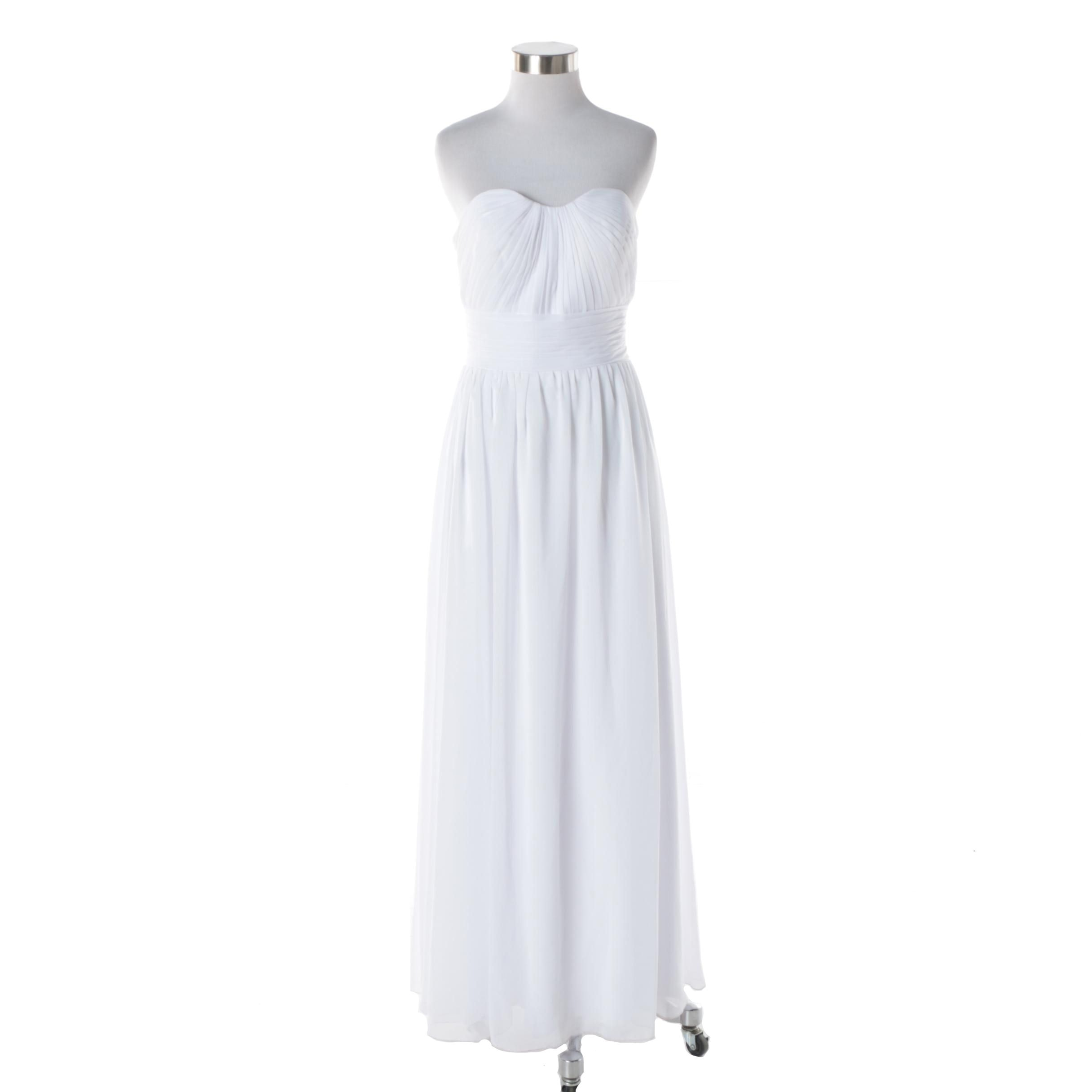 Women's Love Vox White Strapless Bridesmaid Dress