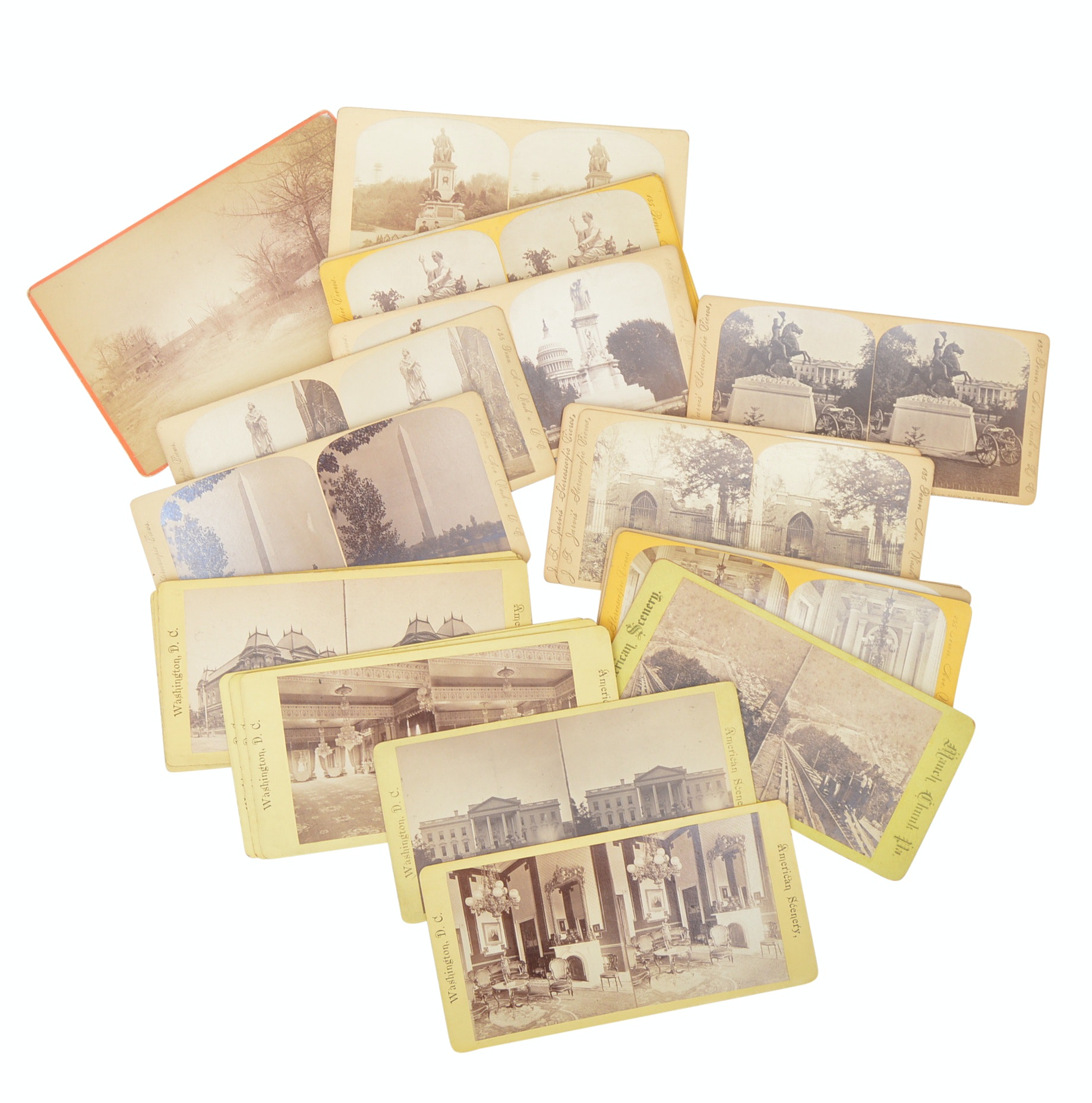 24 Vintage Stereoscopic Cards with Washington D.C. and White House