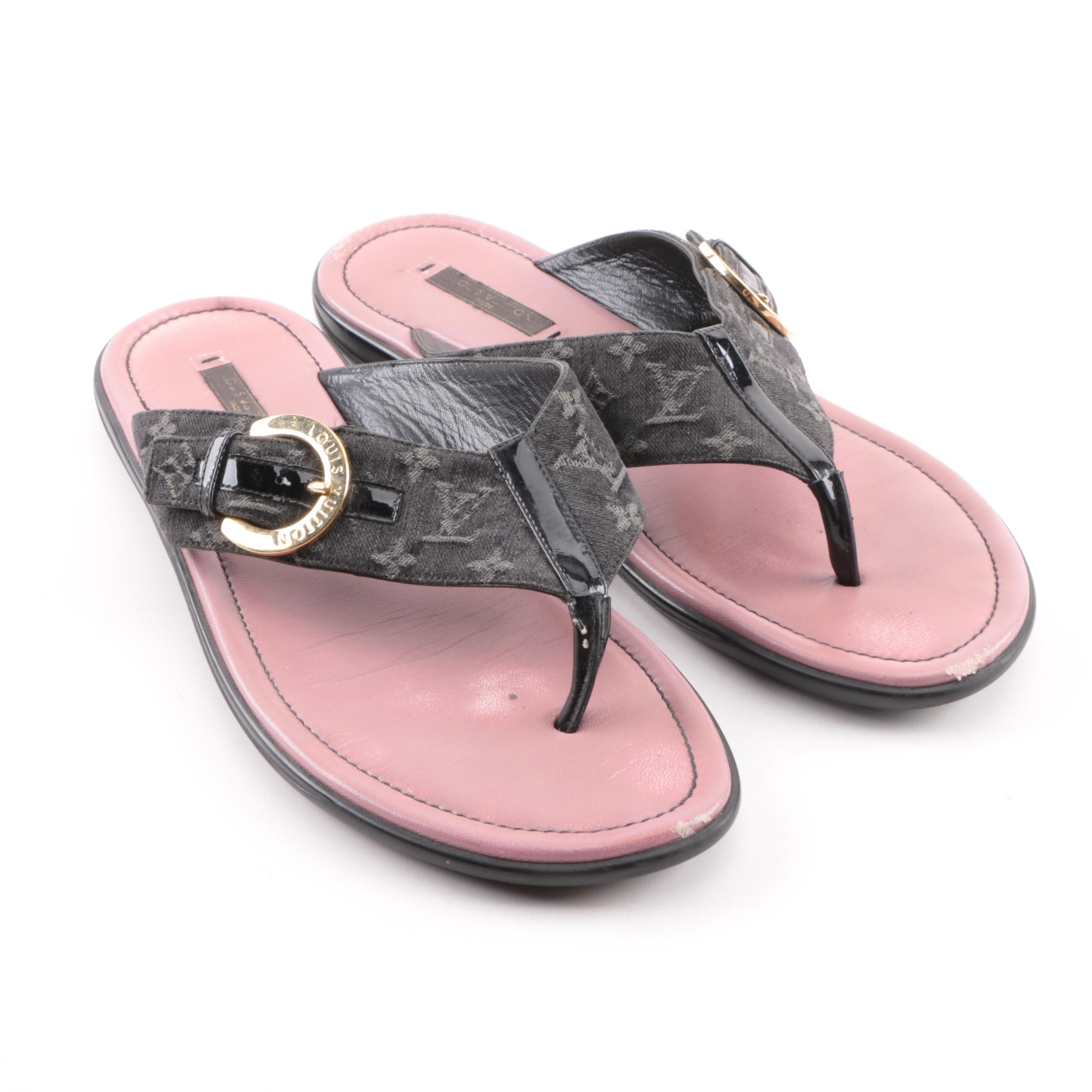 Women's Louis Vuitton Monogram Canvas and Black Patent Leather Thong Sandals