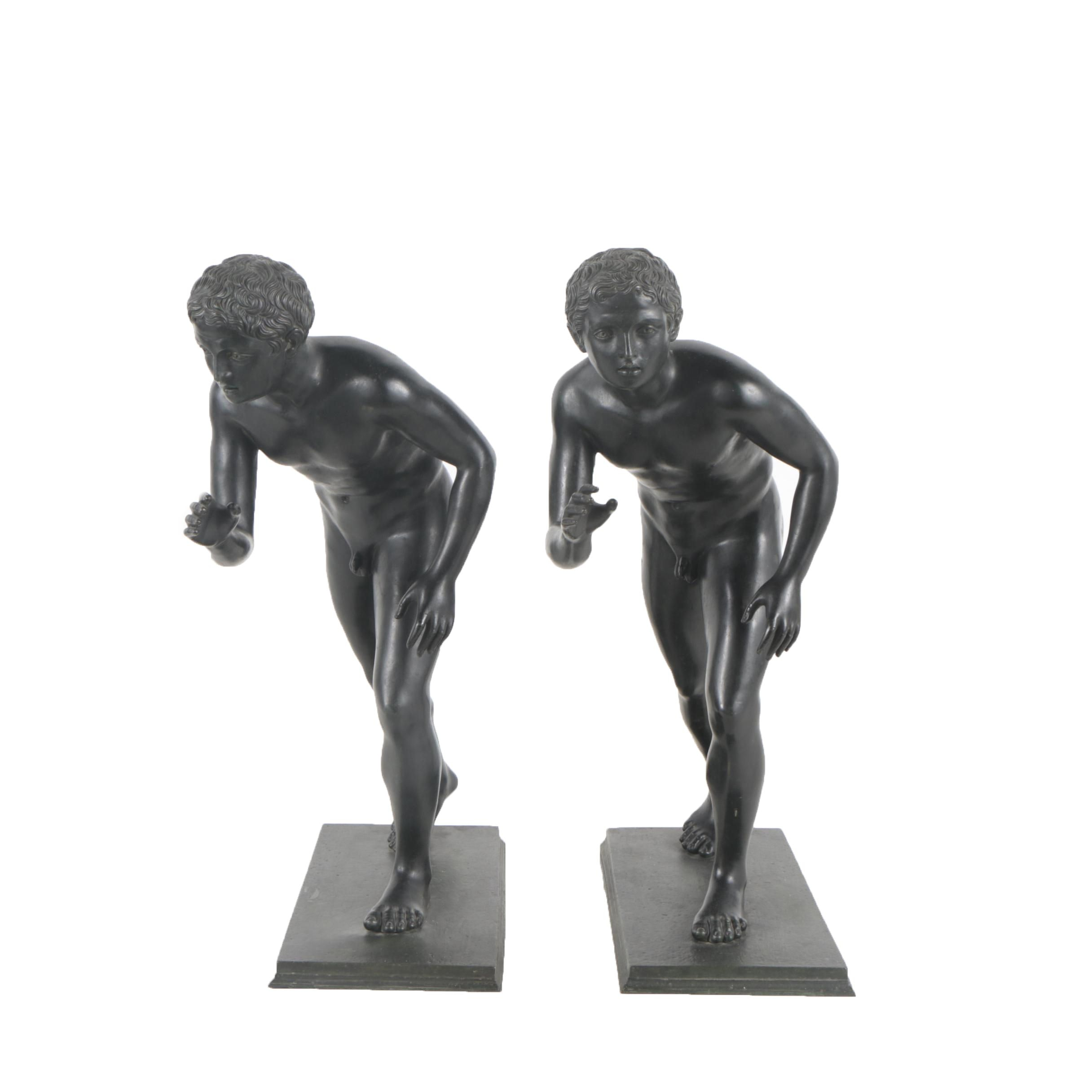 Brass Reproduction Sculptures of Classical Athlete Figures