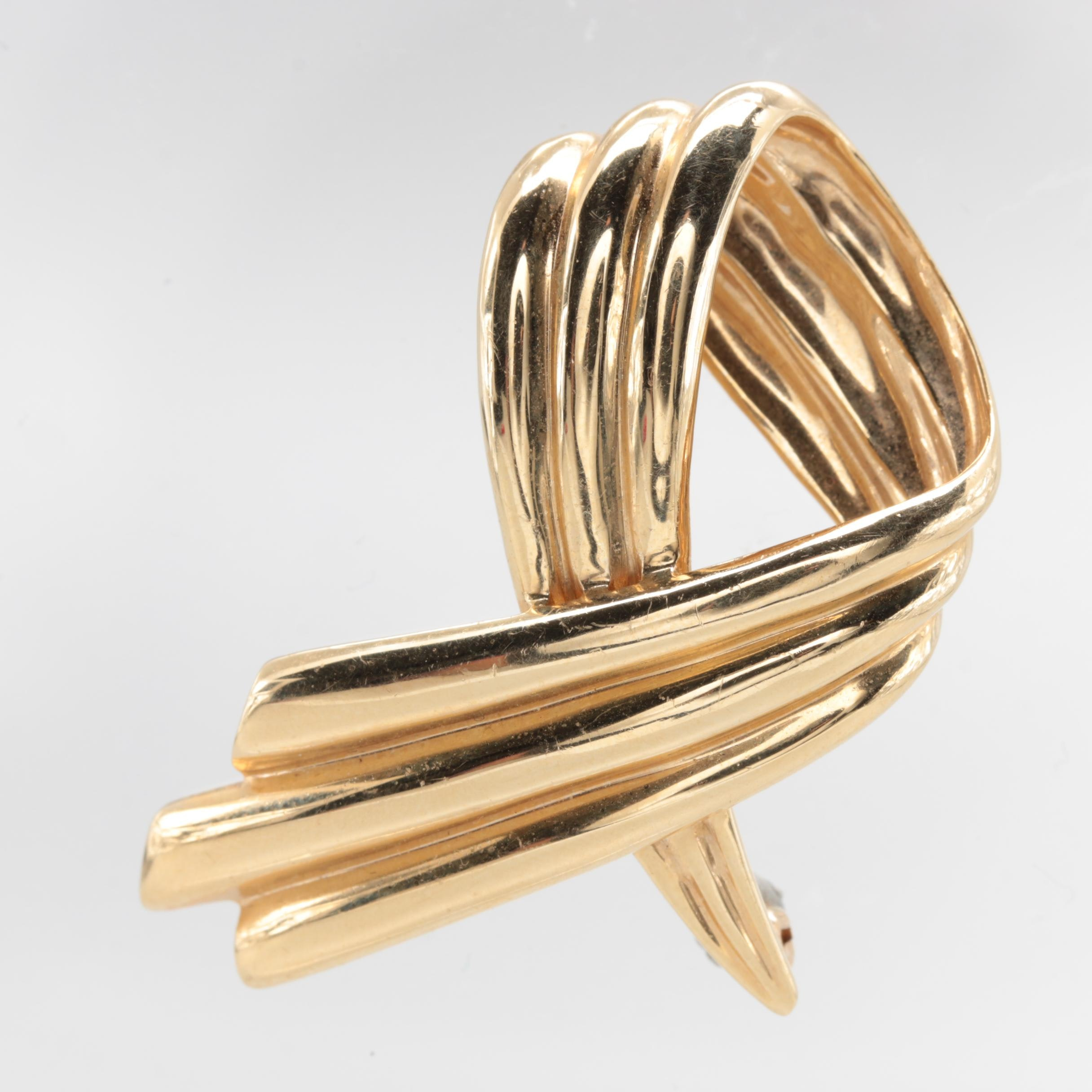 Dankner 14K Yellow Gold Ribbon Brooch