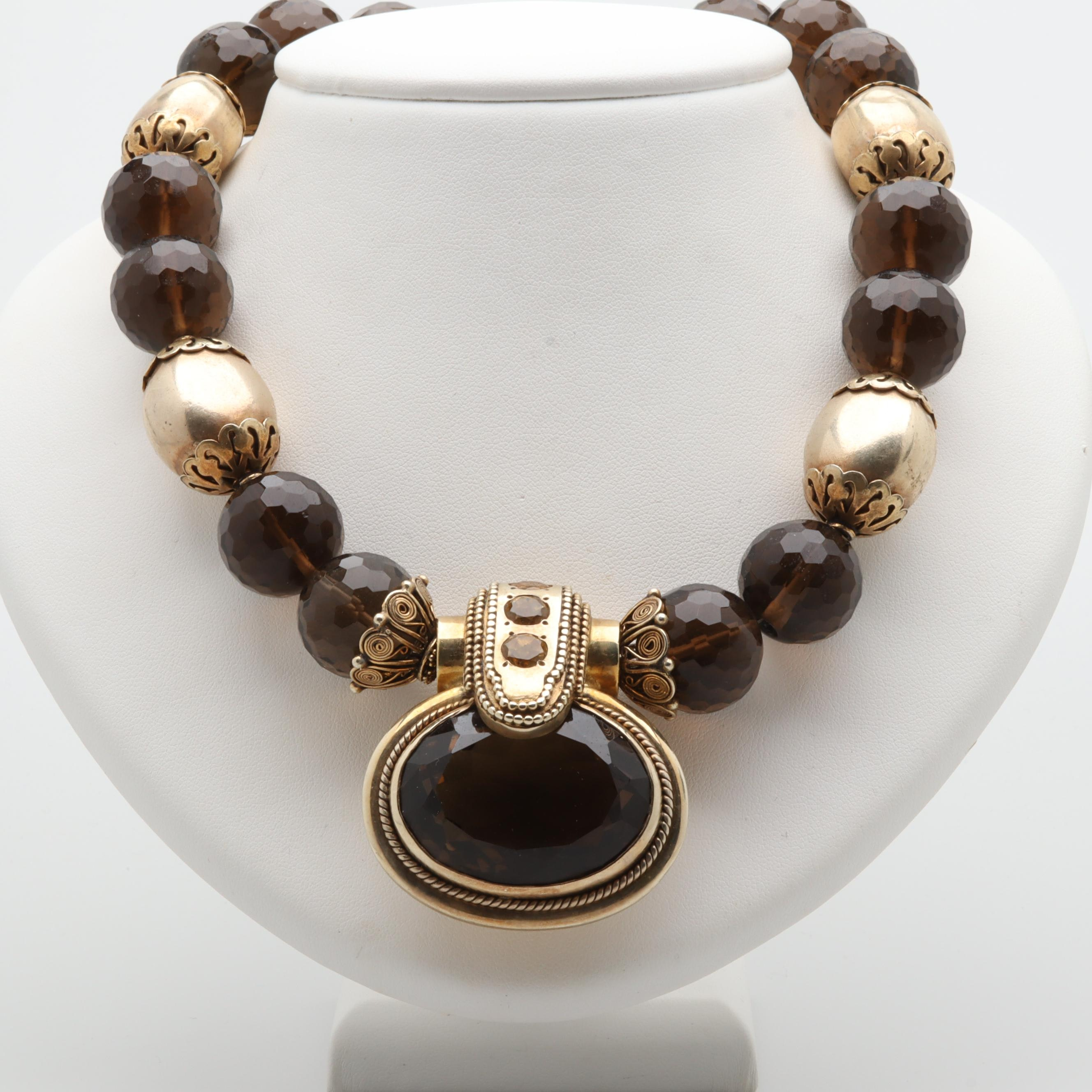 Gold Wash on Sterling Silver Gemstone Necklace Including a 33.87 CT Smoky Quartz
