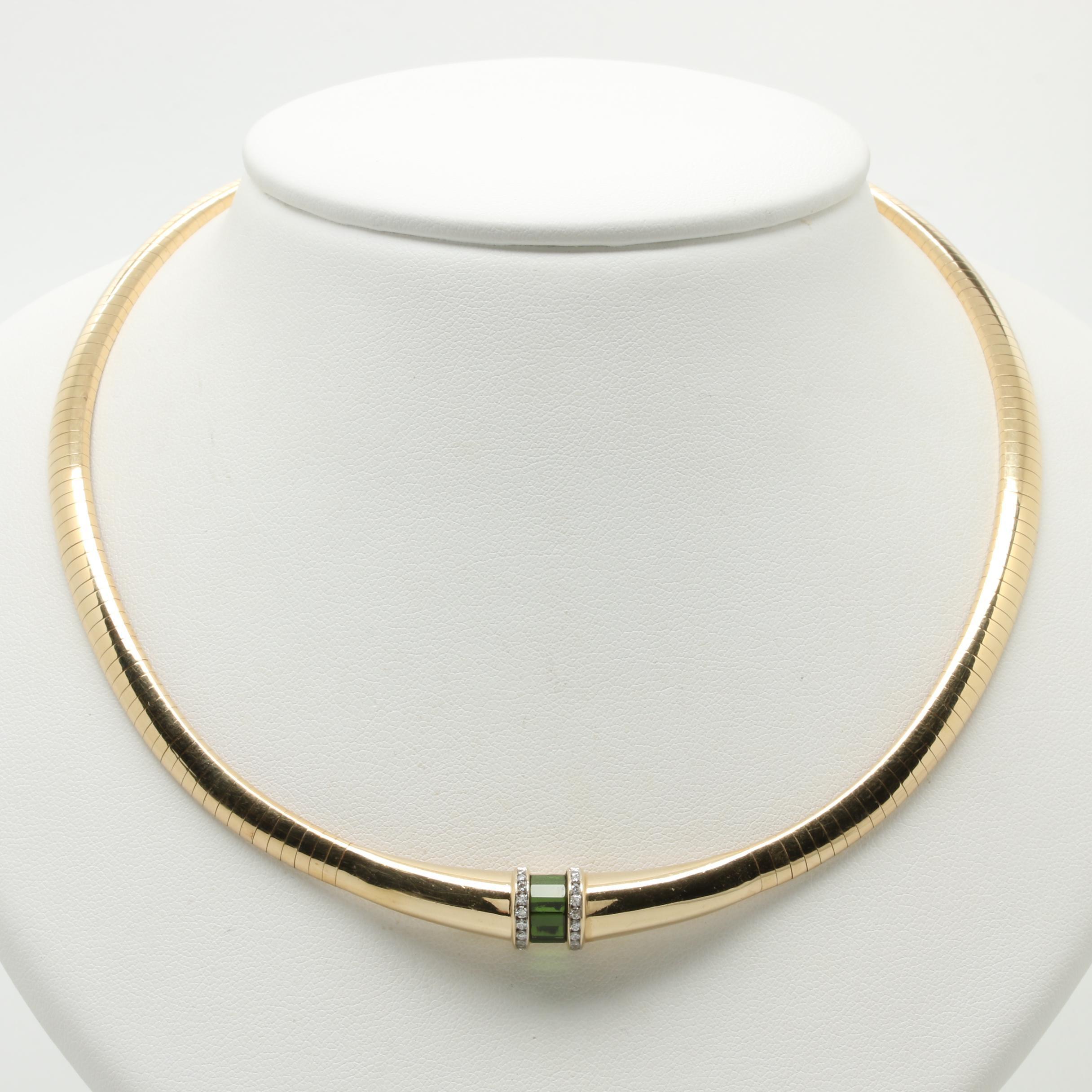 Scott Keating 14K Yellow Gold Tourmaline and Diamond Omega Necklace