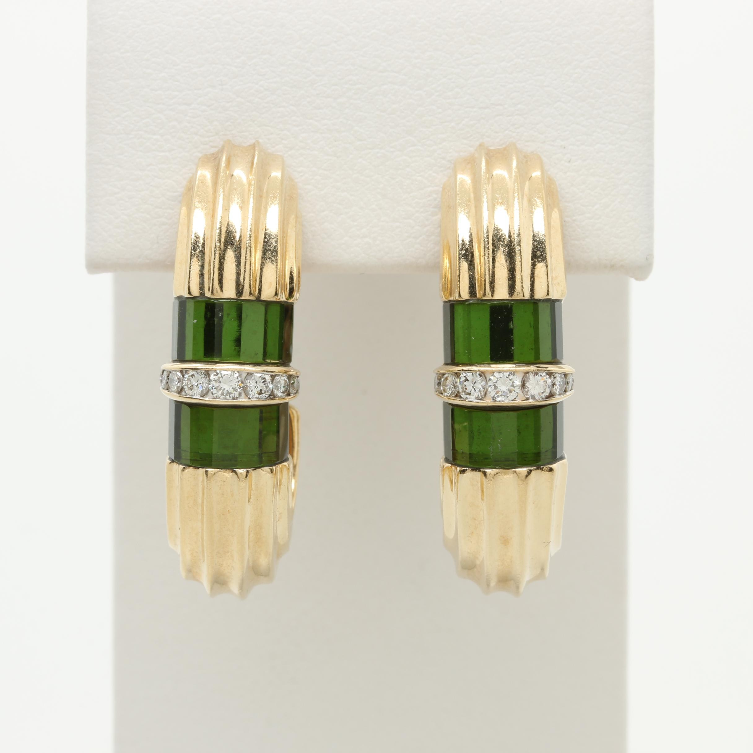 Scott Keating 14K Yellow Gold Tourmaline and Diamond J-Hoop Earrings