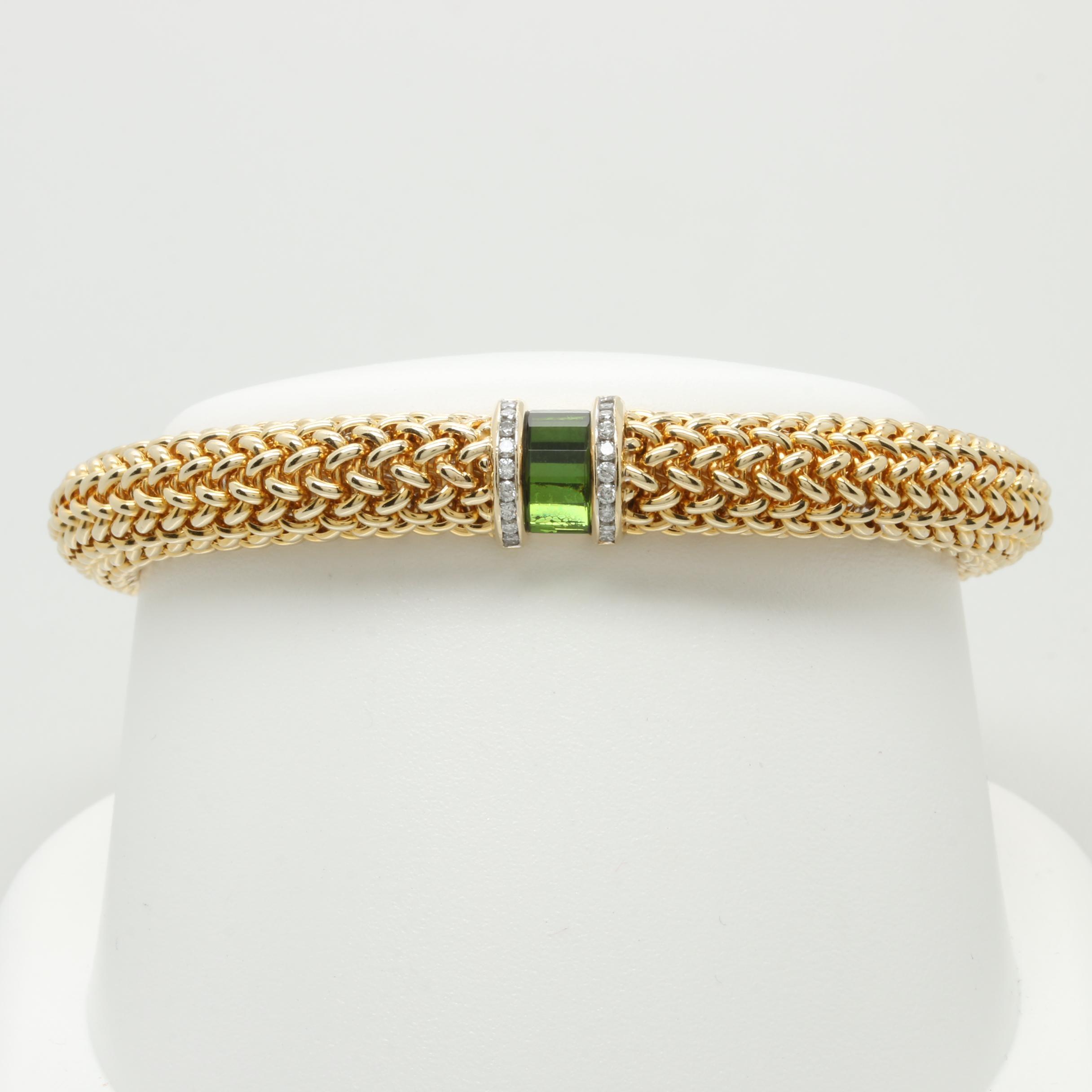 Scott Keating 14K Yellow Gold Tourmaline and Diamond Bracelet