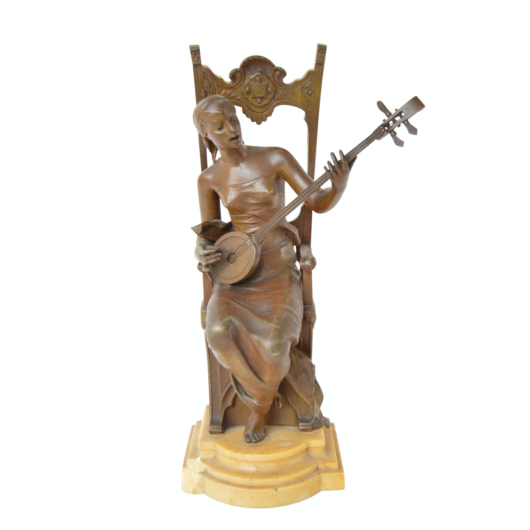 Signed Bronze Lute Player Figurine